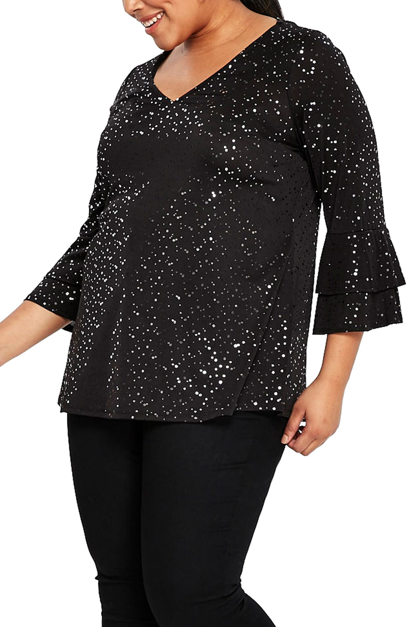 Sparkle Bell Sleeve Top,                             Alternate thumbnail 3, color,