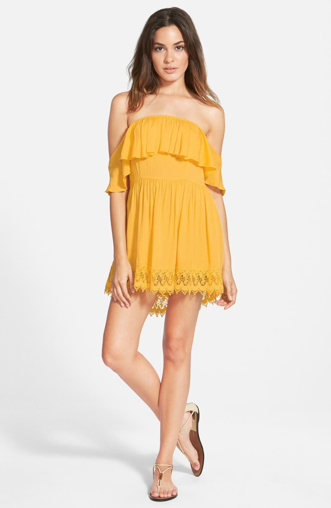 'Dream Vacay' Off the Shoulder Lace Trim Dress,                             Main thumbnail 1, color,                             700
