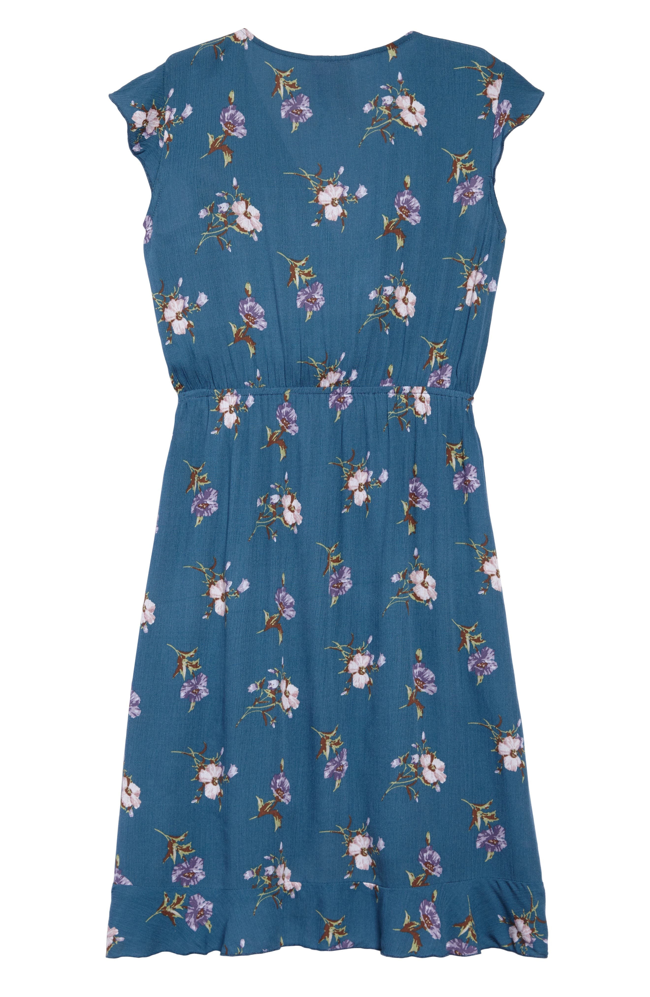 Floral Wrap Dress,                             Alternate thumbnail 2, color,                             474