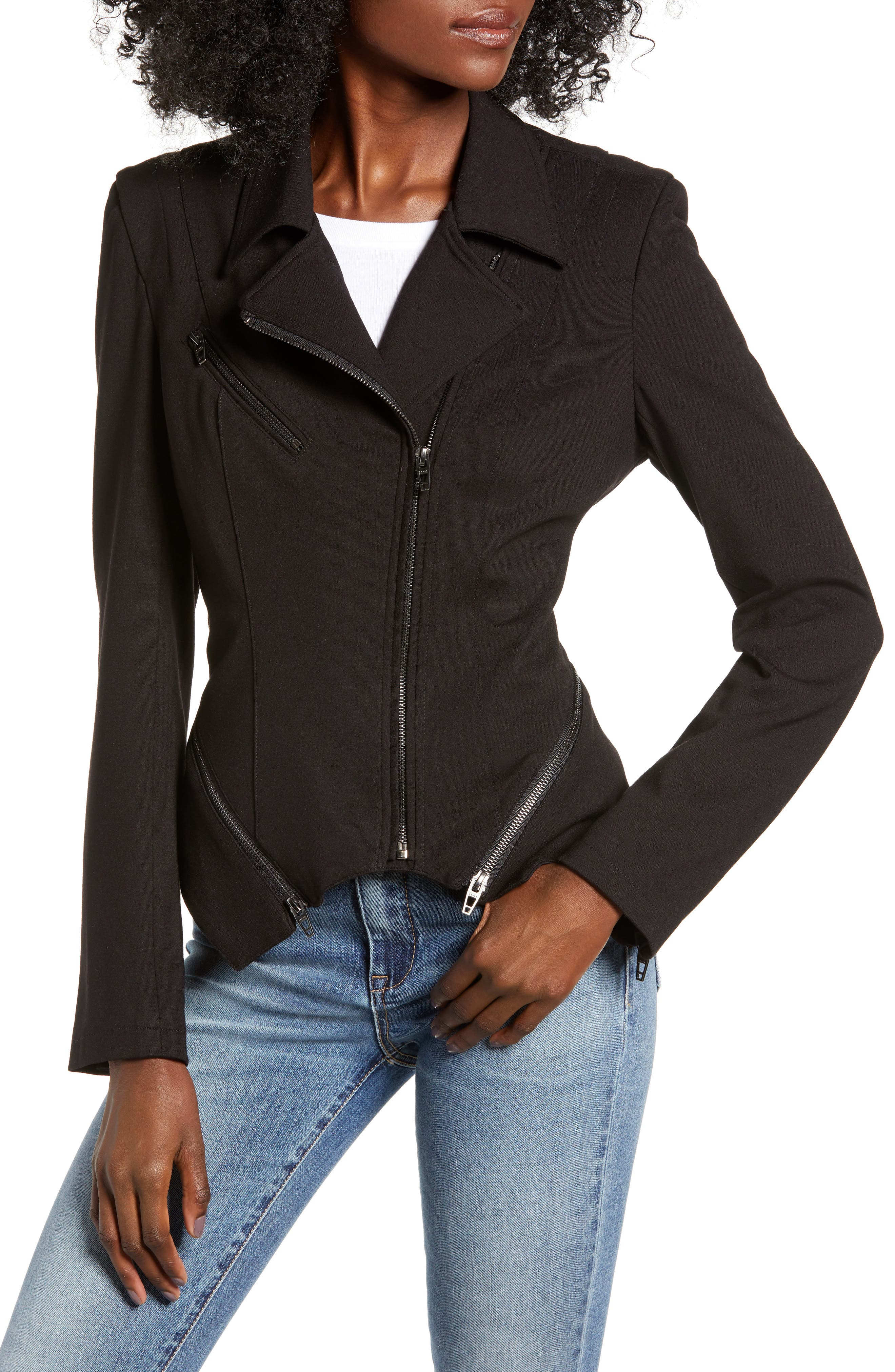 Zip Detail Fitted Ponte Jacket,                             Alternate thumbnail 4, color,                             CAVIAR