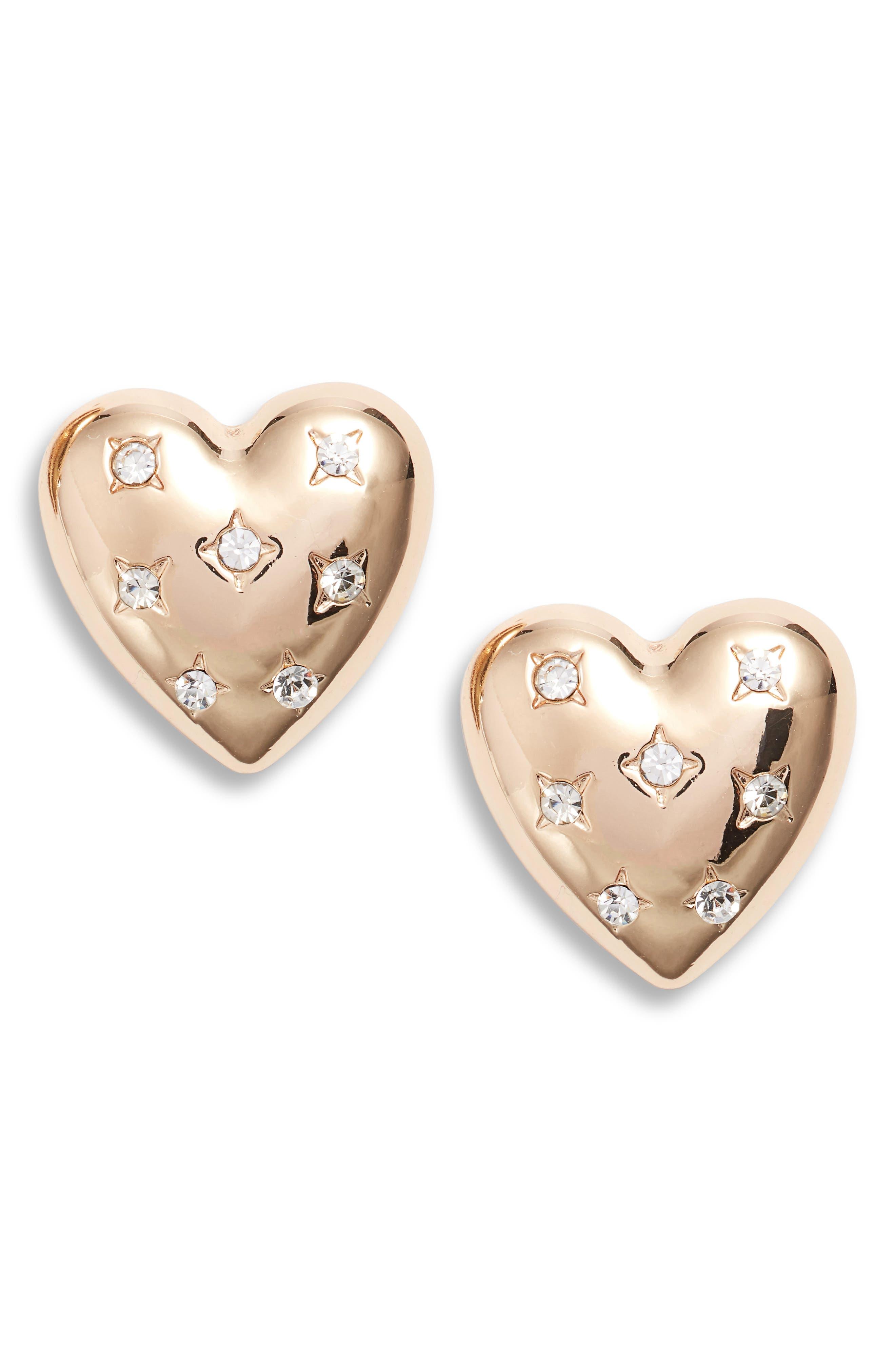 Crystal Heart Stud Earrings,                             Main thumbnail 1, color,                             GOLD/ CRYSTAL