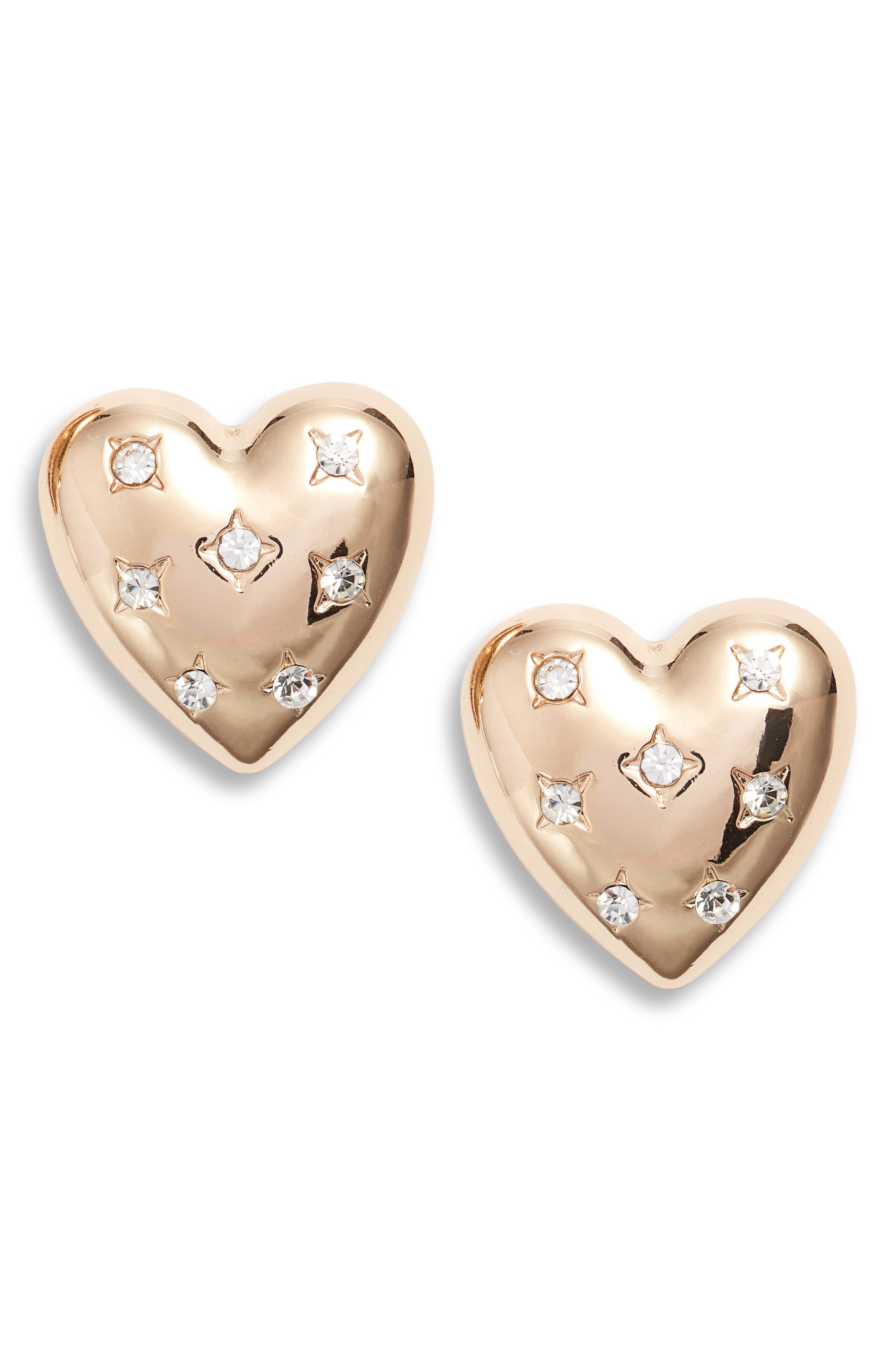 Crystal Heart Stud Earrings,                         Main,                         color, GOLD/ CRYSTAL
