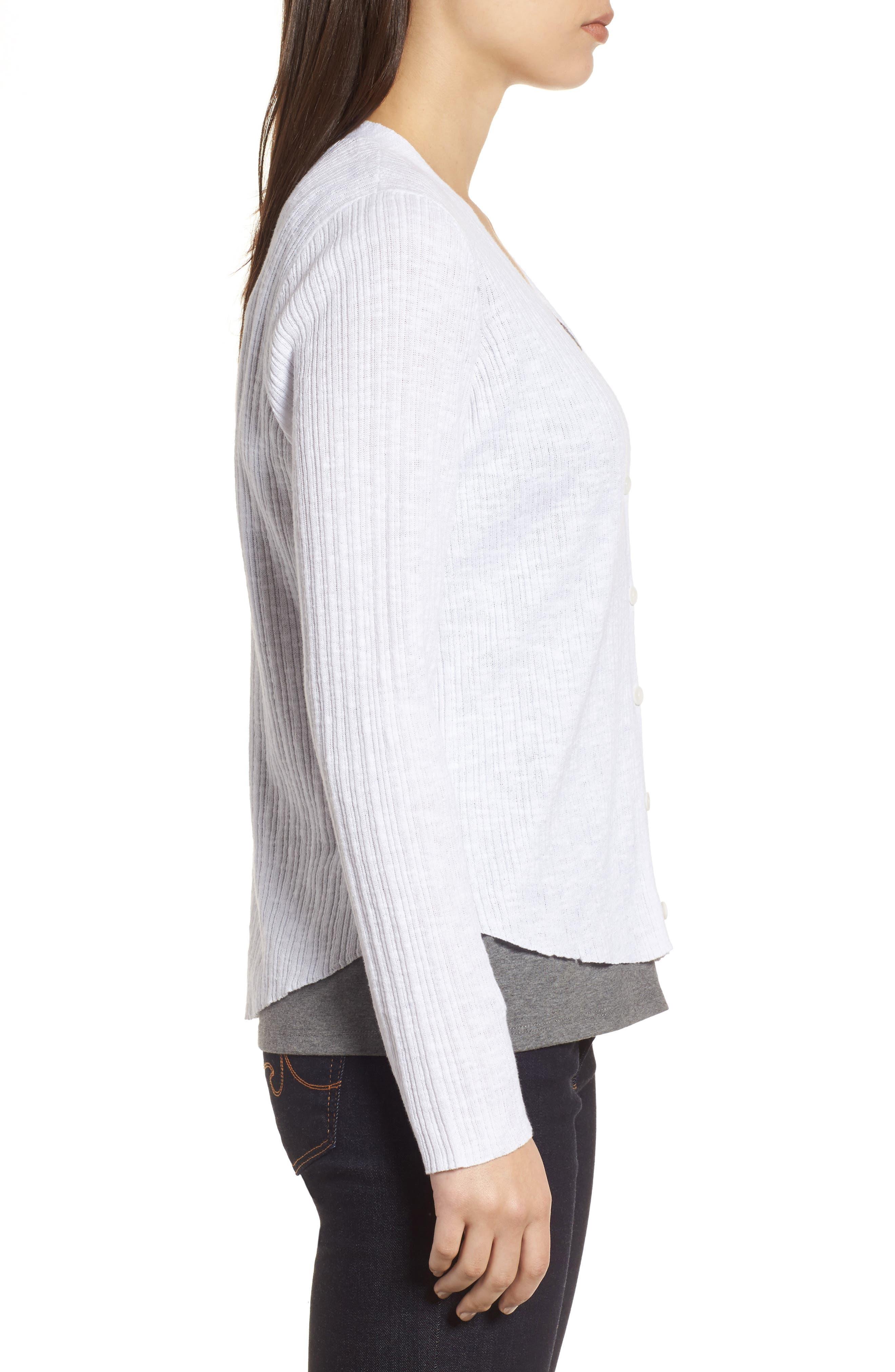 V-Neck Organic Linen & Cotton Cardigan,                             Alternate thumbnail 3, color,                             100