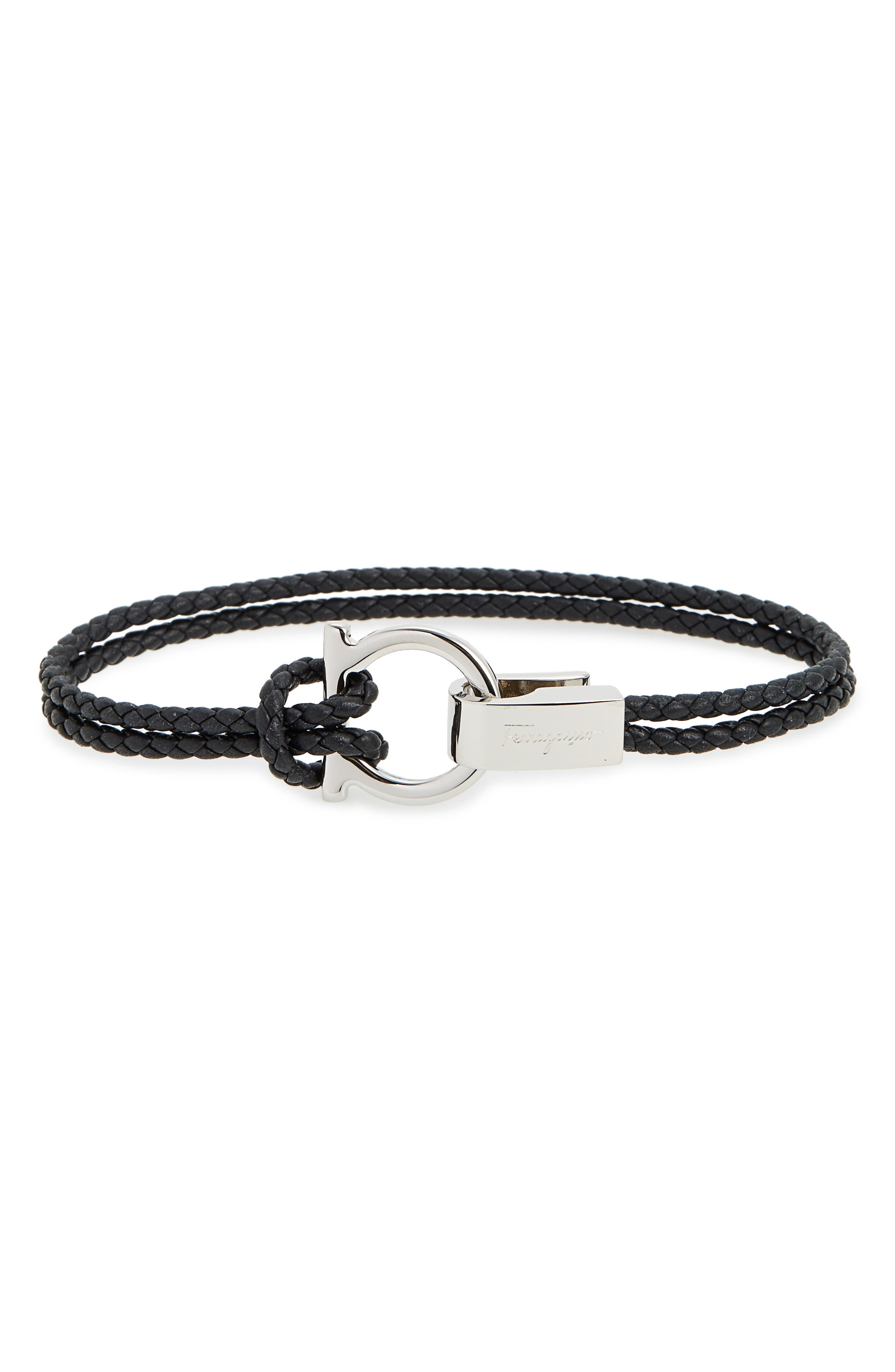 Double Braided Gancini Leather Bracelet,                             Main thumbnail 1, color,                             BLACK