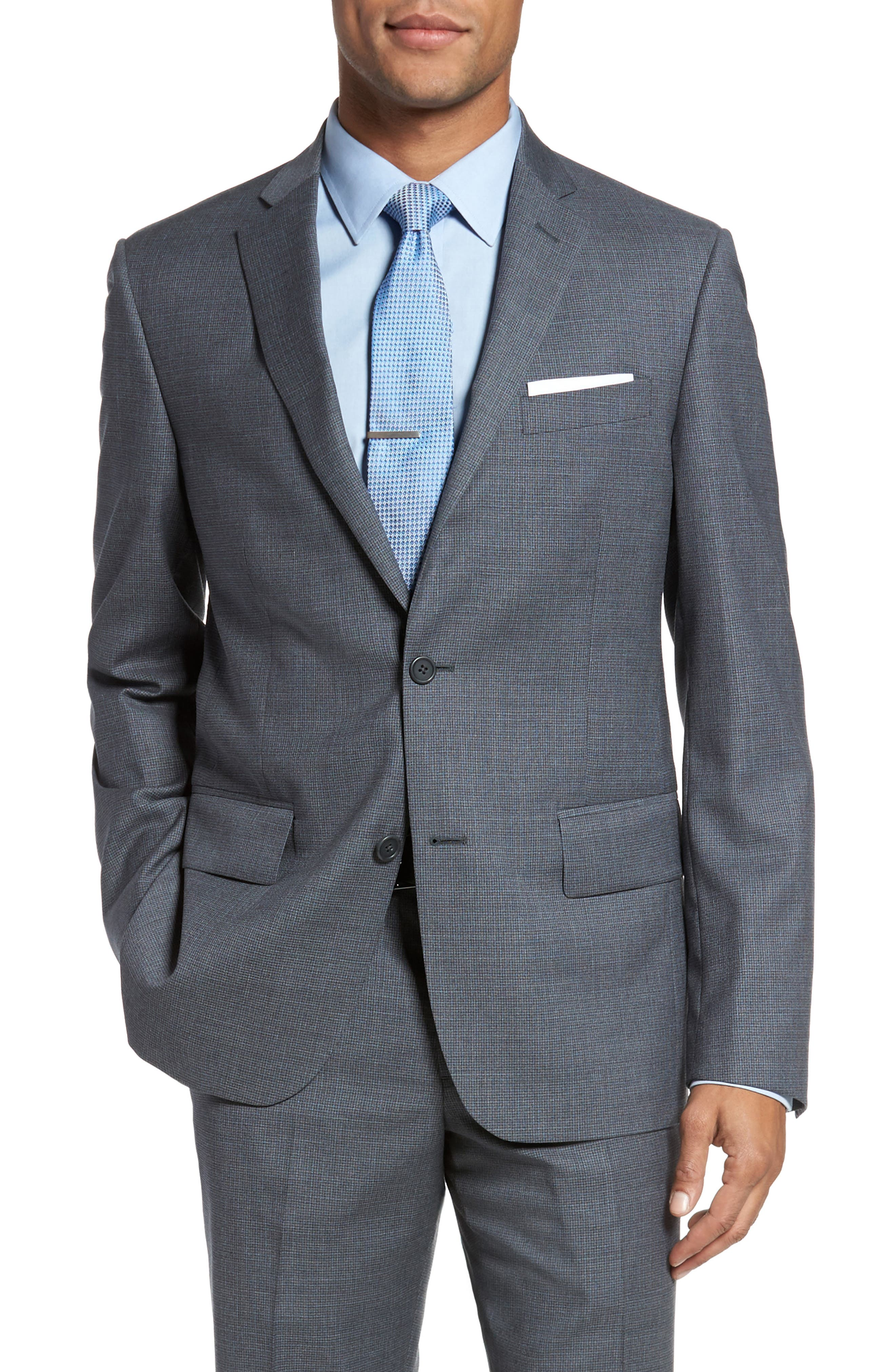 Classic Fit Check Wool Suit,                             Alternate thumbnail 14, color,