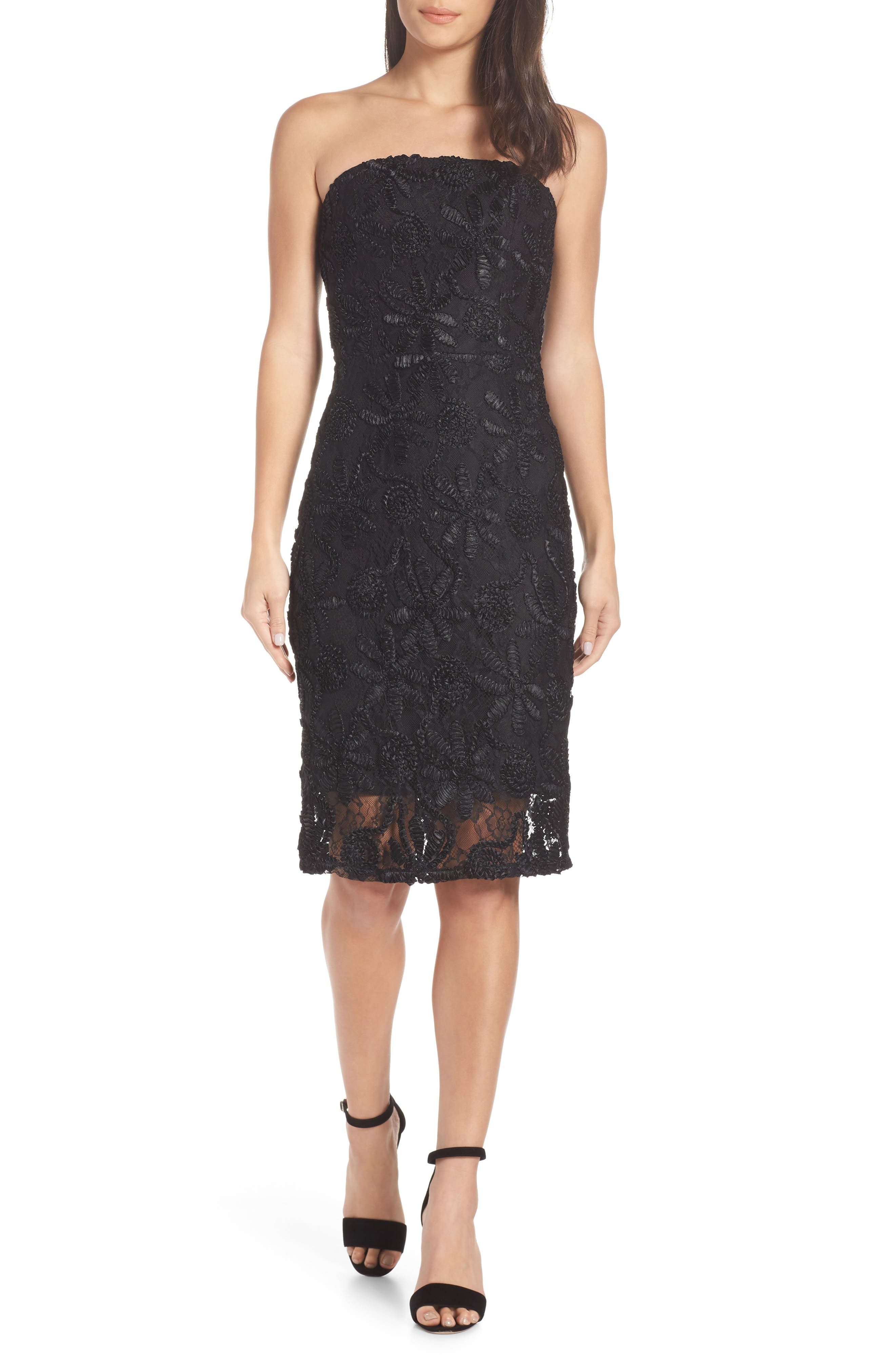ADELYN RAE Healy Strapless Lace Sheath Dress in Black