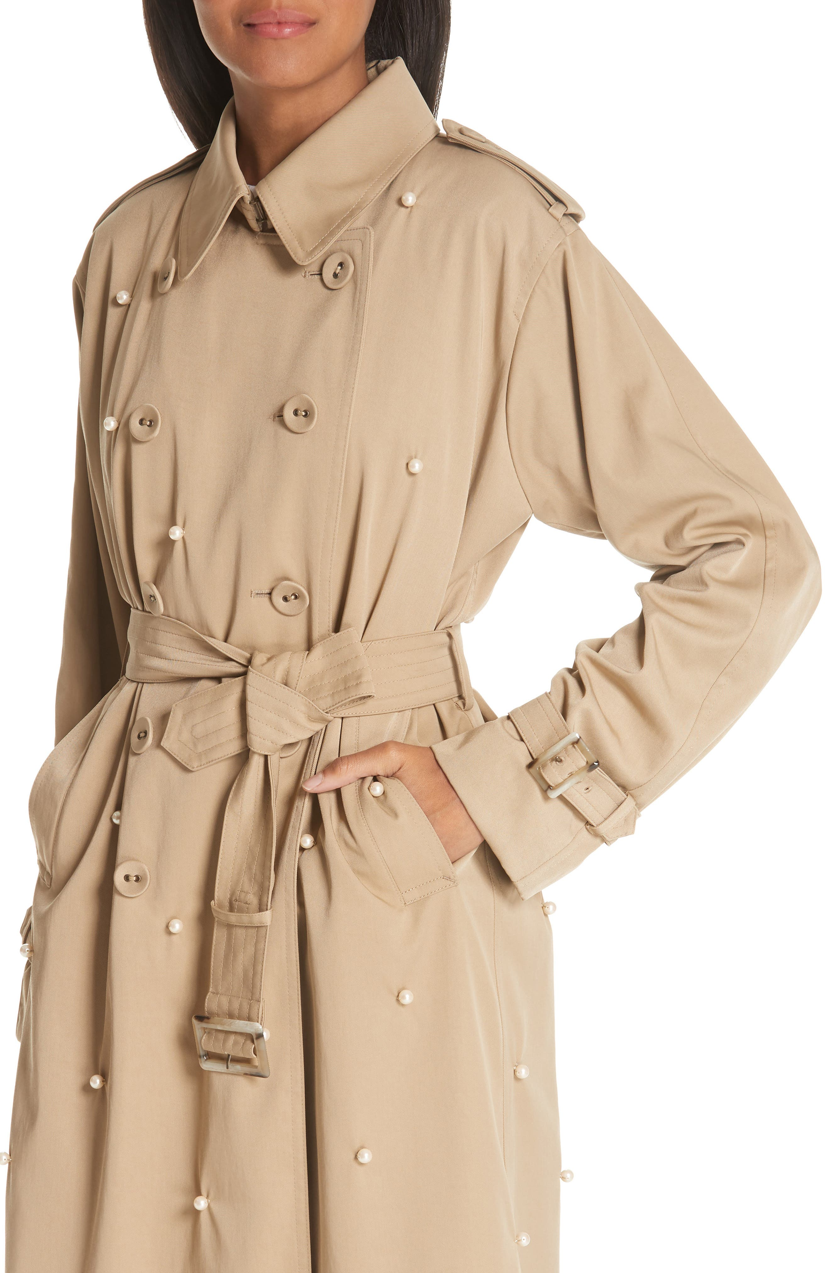 Imitation Pearl Embellished Trench Coat,                             Alternate thumbnail 4, color,                             BEIGE BEIG
