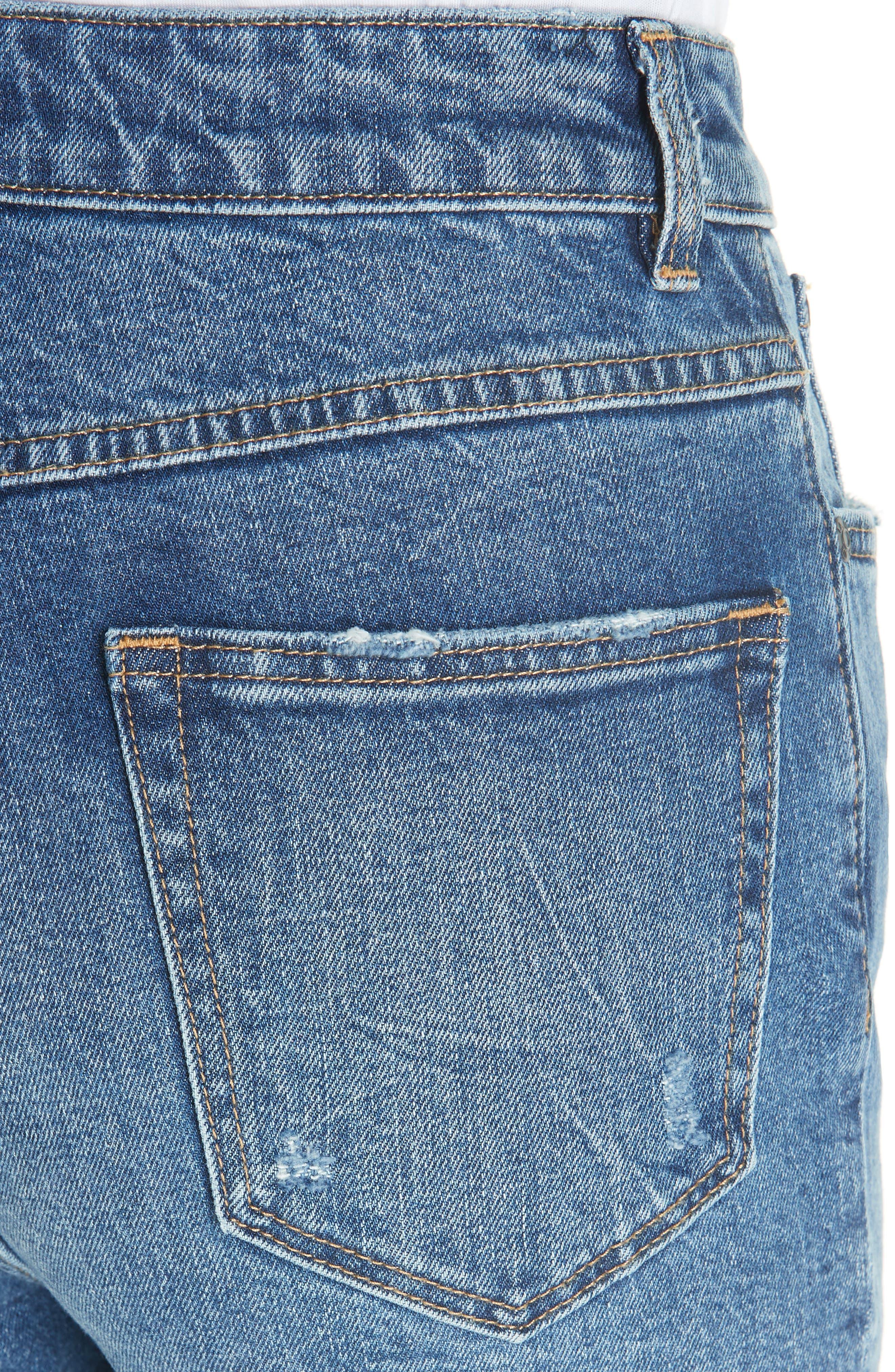 High Waist Straight Leg Jeans,                             Alternate thumbnail 4, color,                             GARWSH
