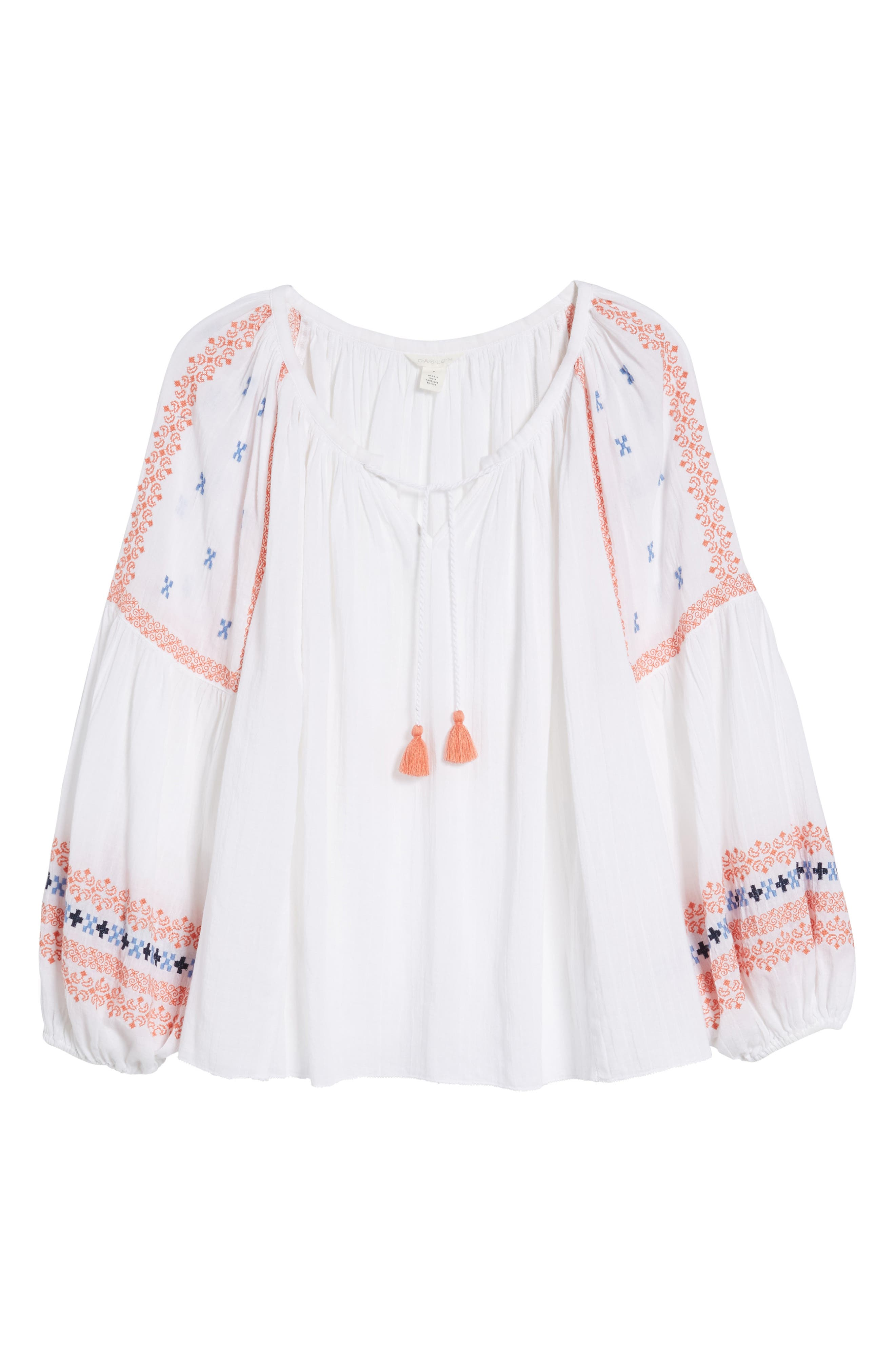 Embroidered Peasant Top,                             Alternate thumbnail 7, color,                             100