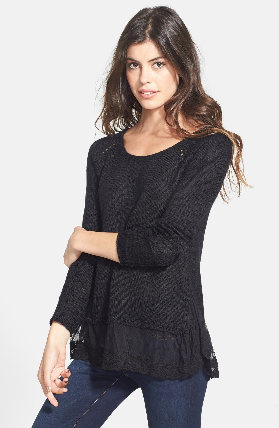 Fuzzy Lace Hem Pullover,                         Main,                         color, 001