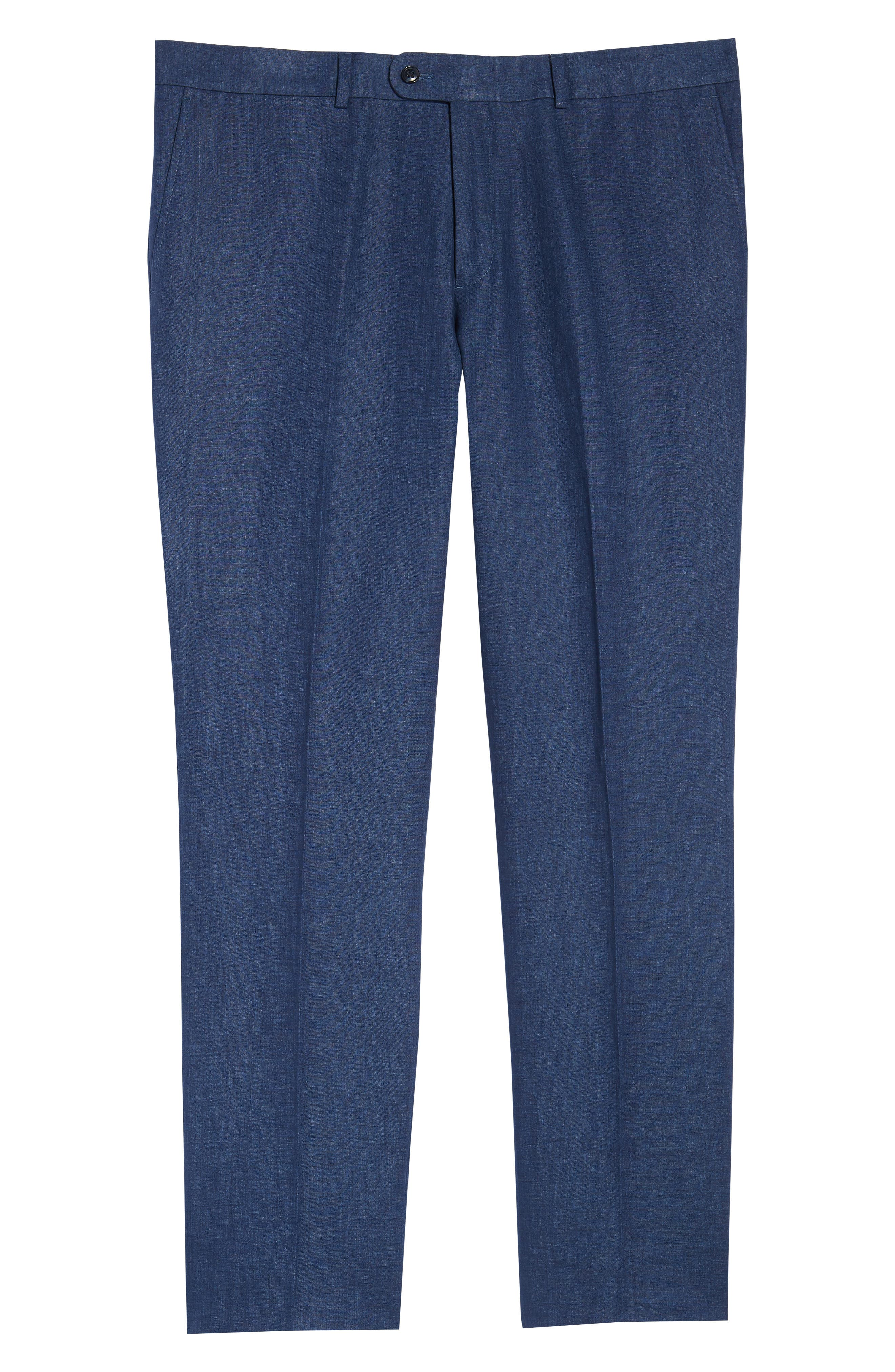 Andrew AIM Flat Front Linen Trousers,                             Alternate thumbnail 6, color,                             NAVY