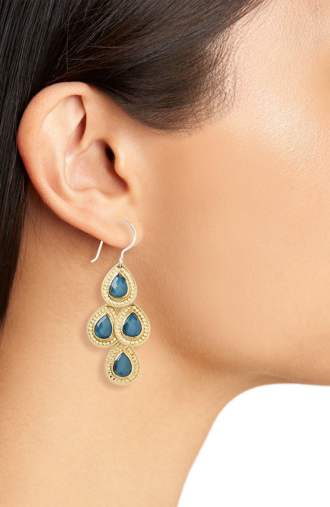 Stone Chandelier Earrings,                             Alternate thumbnail 7, color,