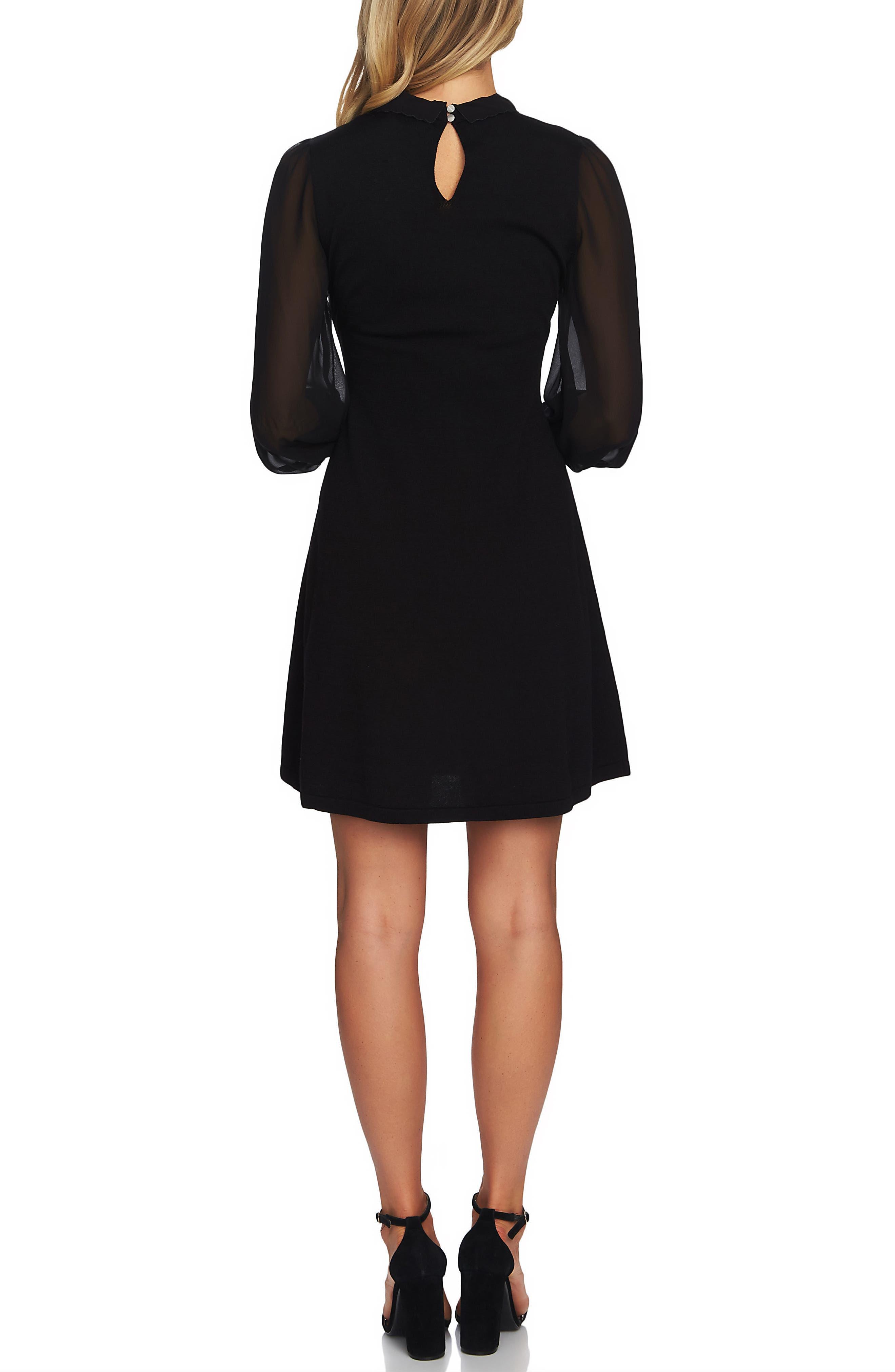 Embellished Collar Dress,                             Alternate thumbnail 2, color,                             RICH BLACK