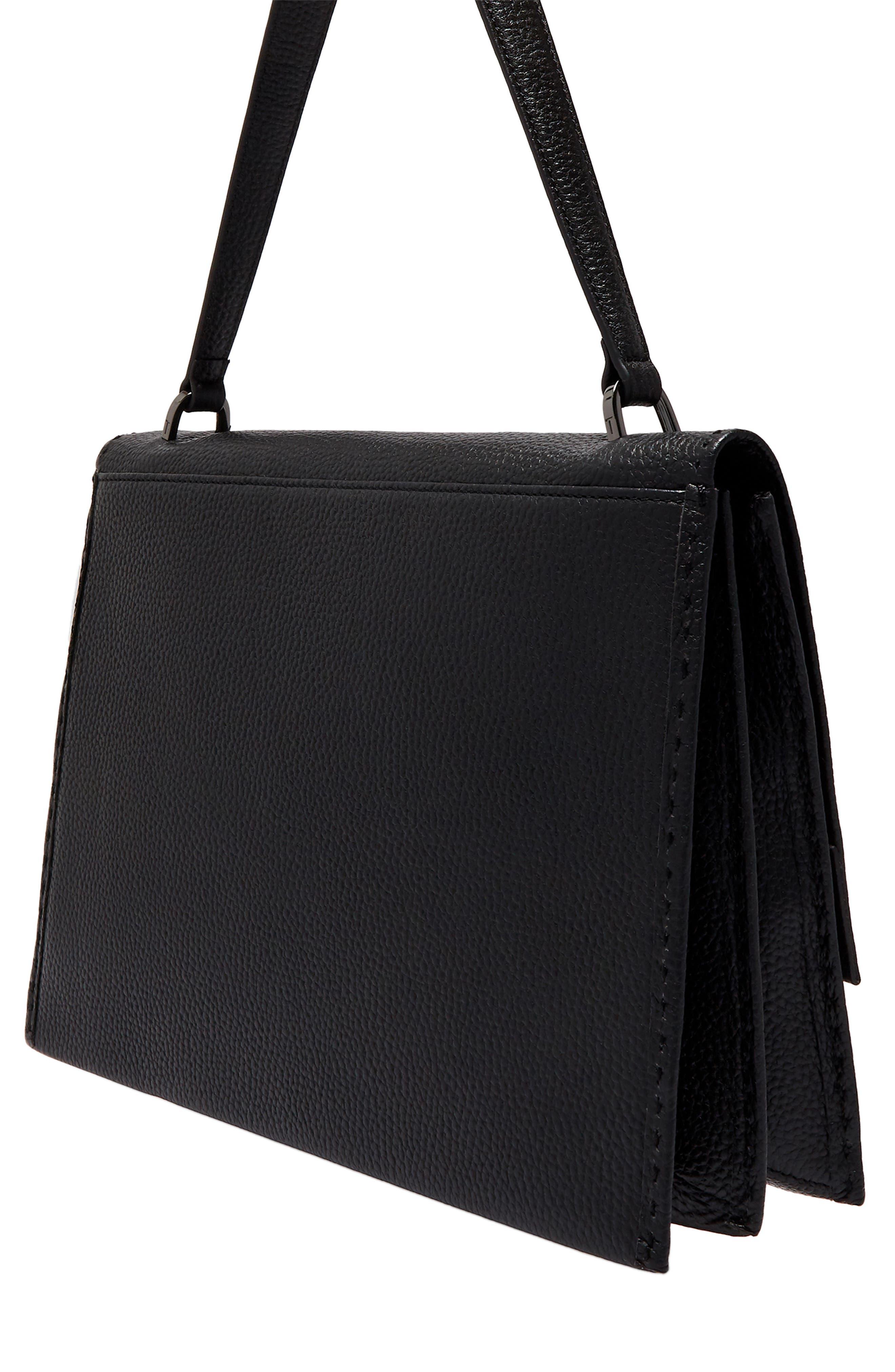 Jessi Leather Shoulder Bag,                             Alternate thumbnail 2, color,                             BLACK
