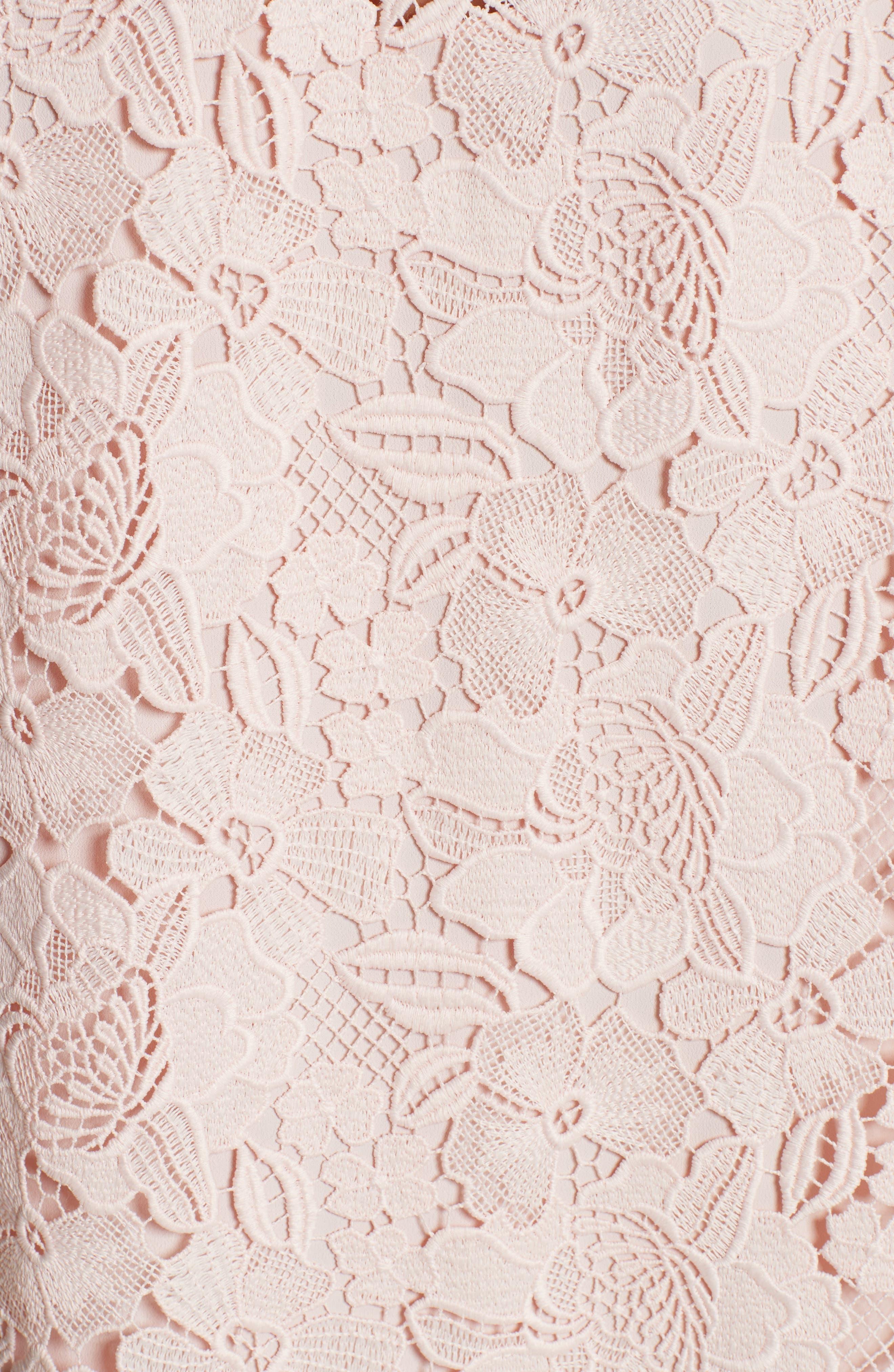 Lace & Velvet Shift Dress,                             Alternate thumbnail 5, color,                             100