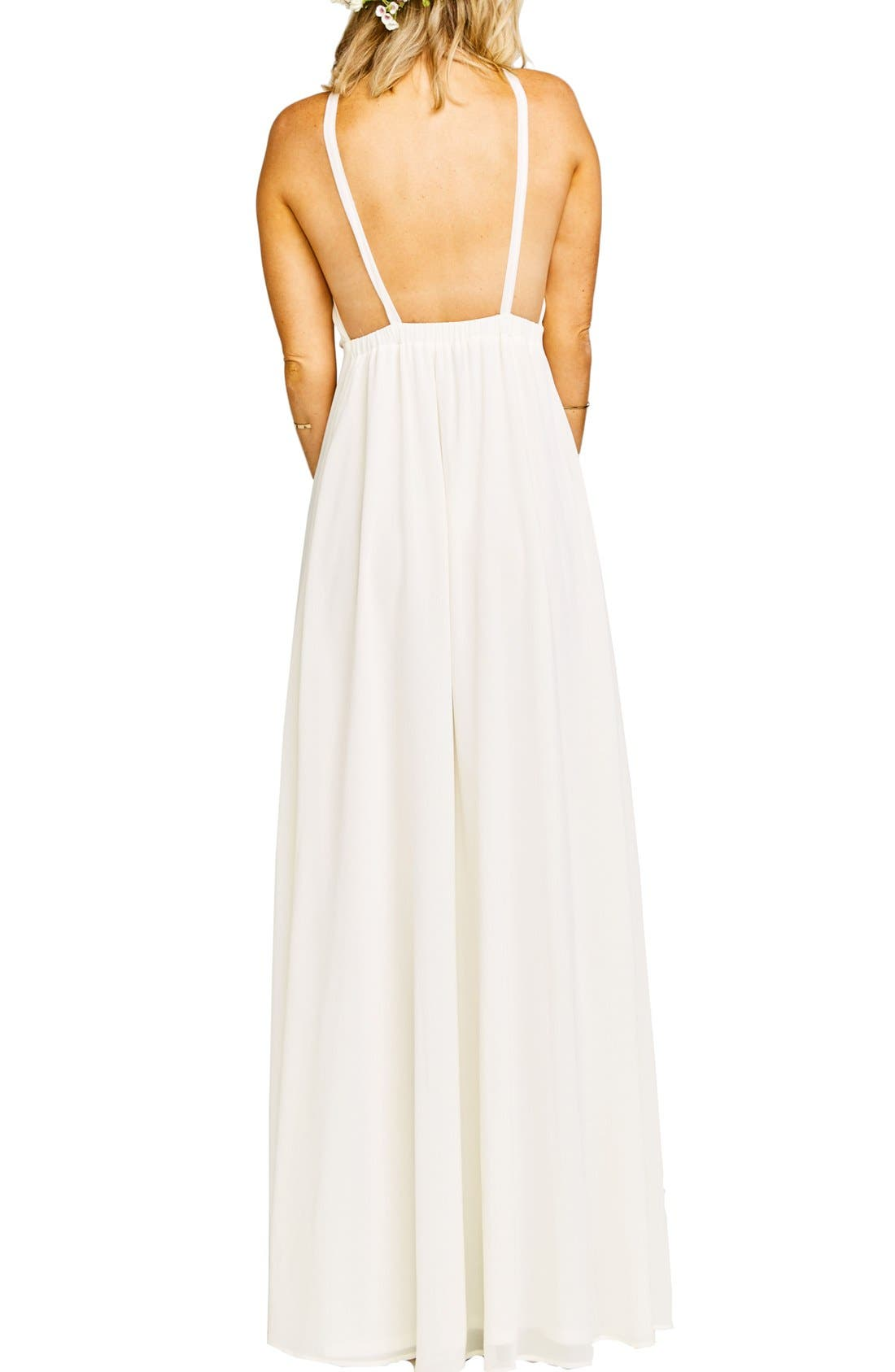 Amanda Open Back Blouson Gown,                             Alternate thumbnail 9, color,