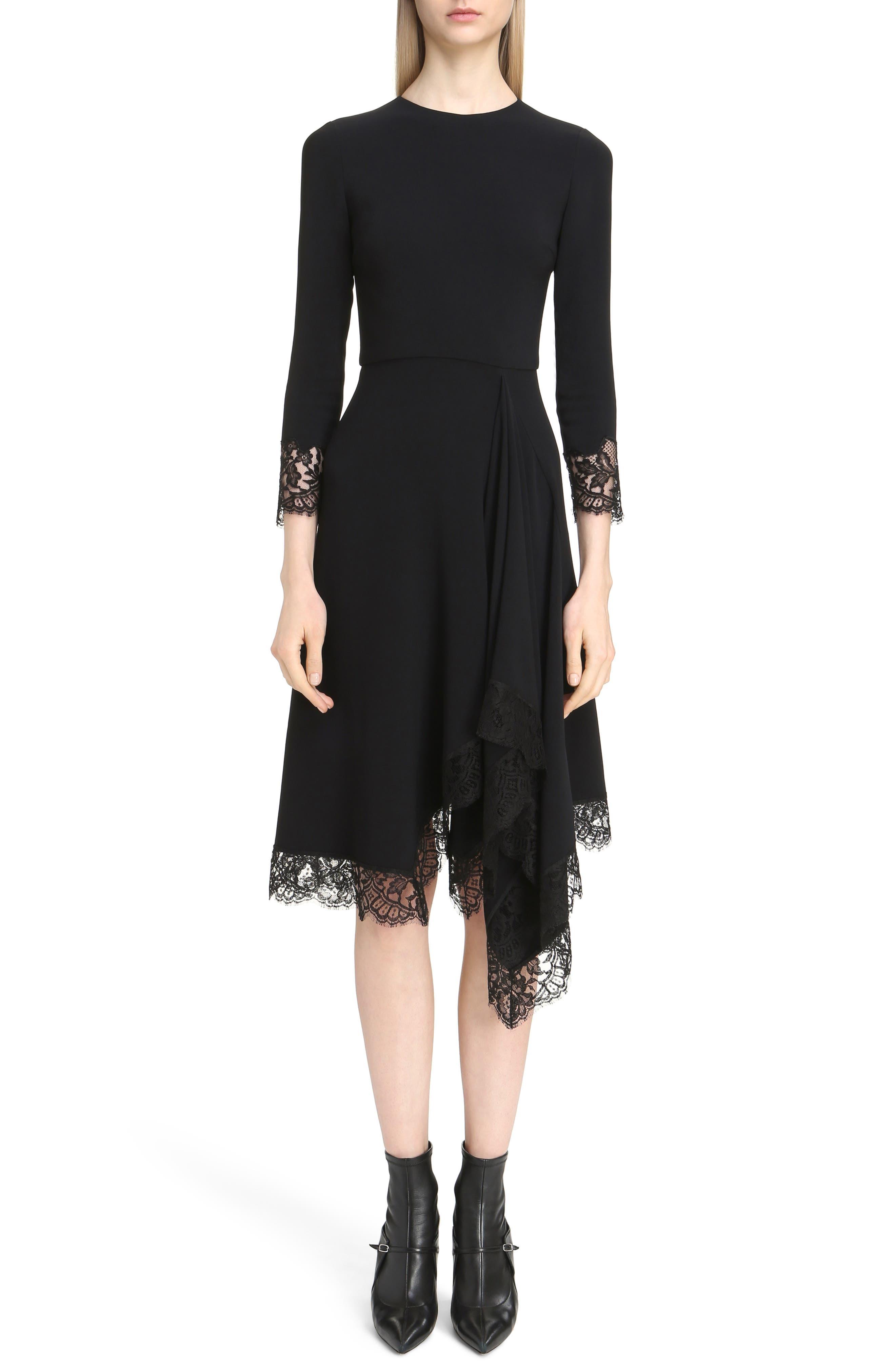 Lace Trim Stretch Cady Asymmetrical Dress,                             Main thumbnail 1, color,                             001
