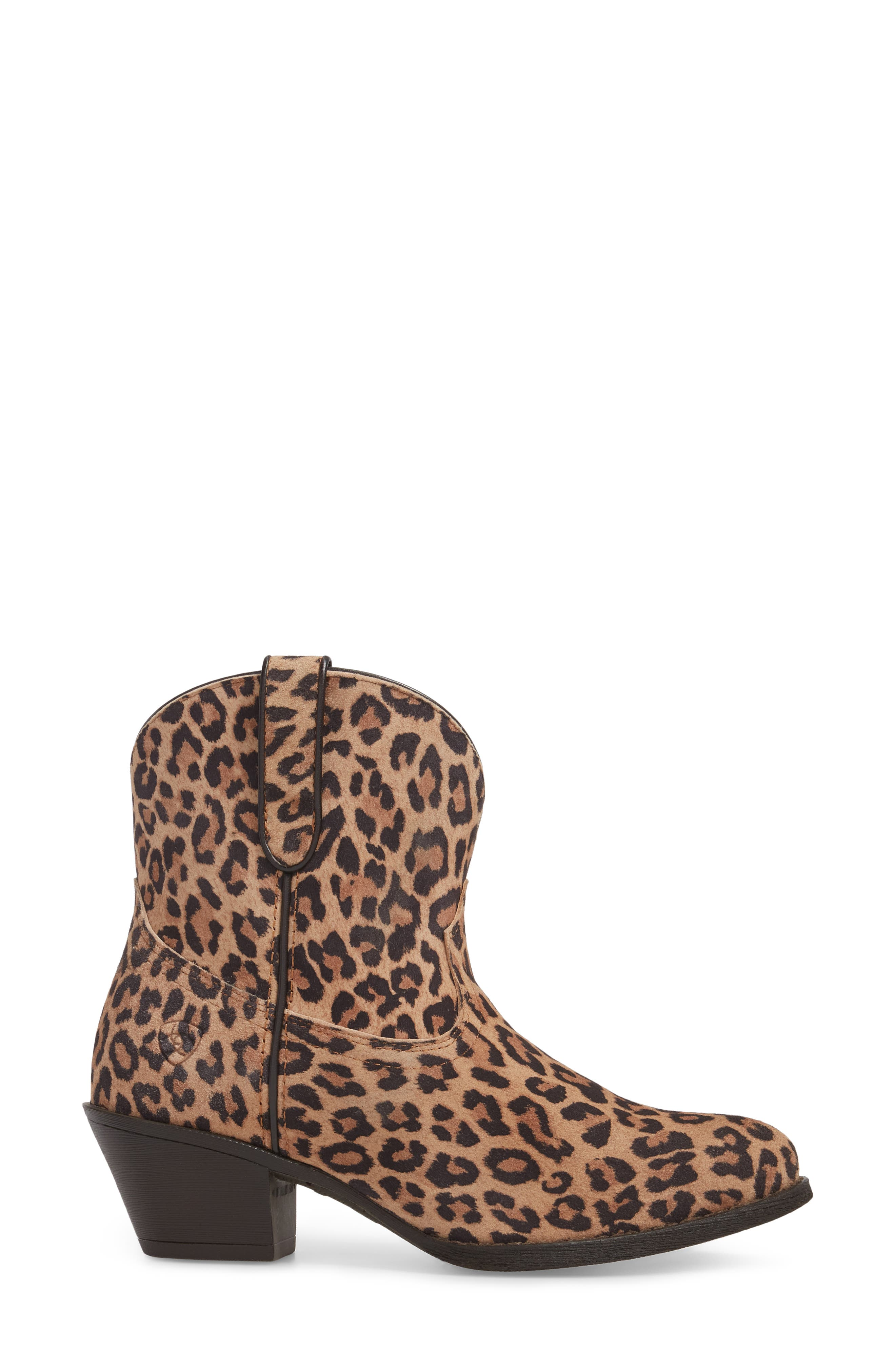 Darlin Short Western Boot,                             Alternate thumbnail 3, color,                             LEOPARD PRINT LEATHER