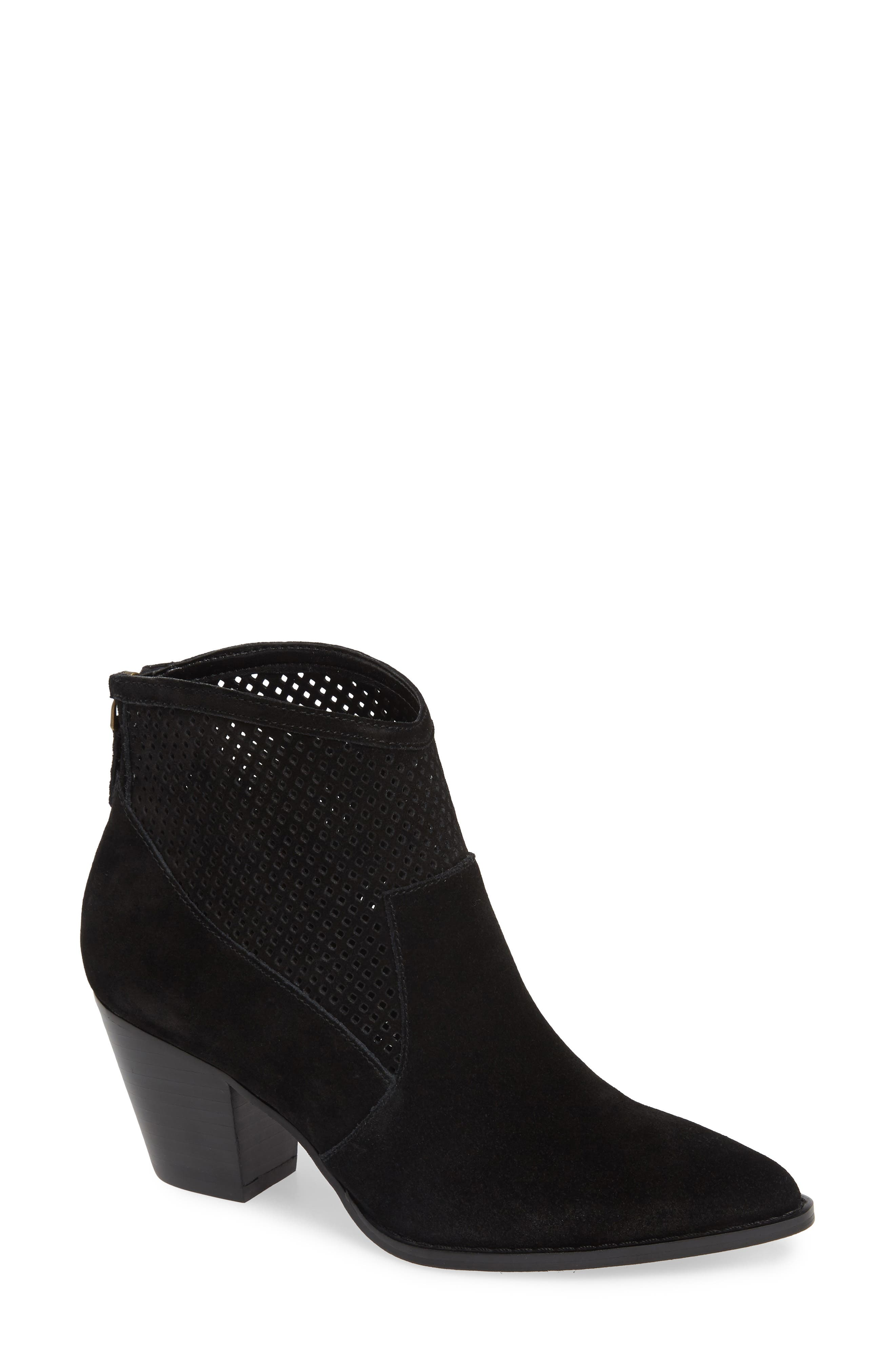 TREASURE & BOND,                             Boone Perforated Western Bootie,                             Main thumbnail 1, color,                             BLACK SUEDE