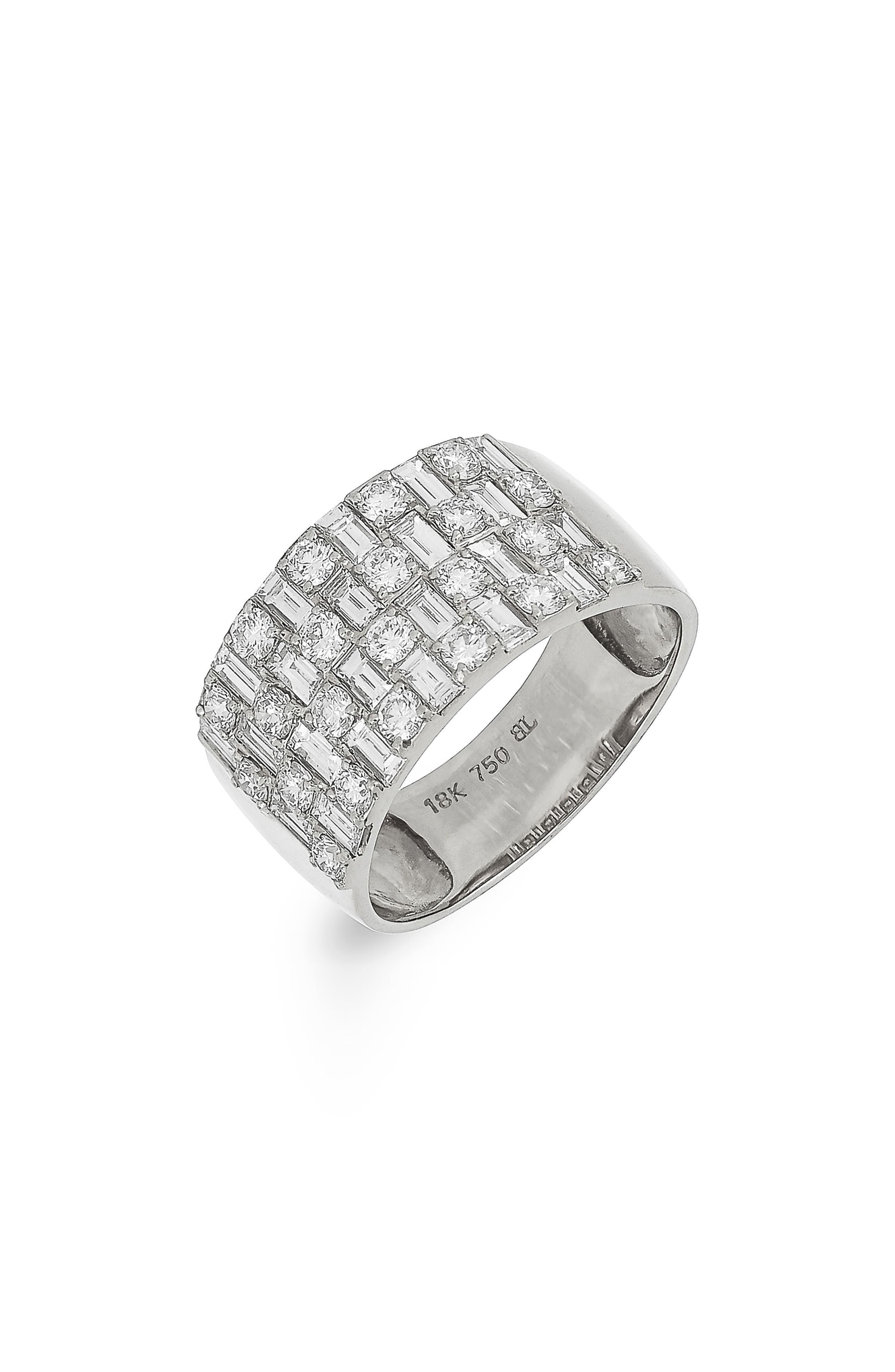 Multi Row Diamond Band Ring,                             Alternate thumbnail 2, color,                             WHITE GOLD