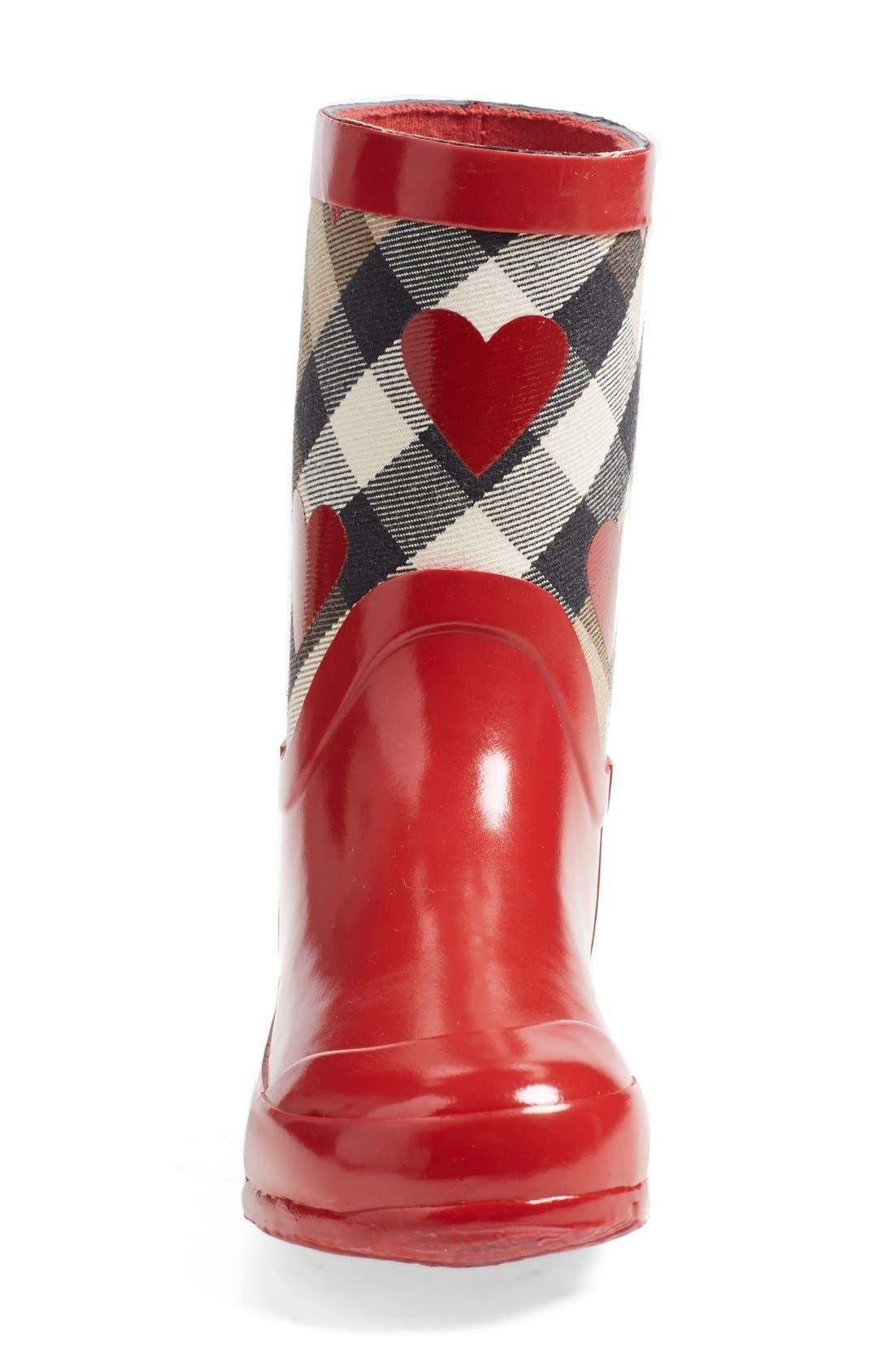 'Ranmoor' Heart Print Rain Boot,                             Alternate thumbnail 3, color,                             608