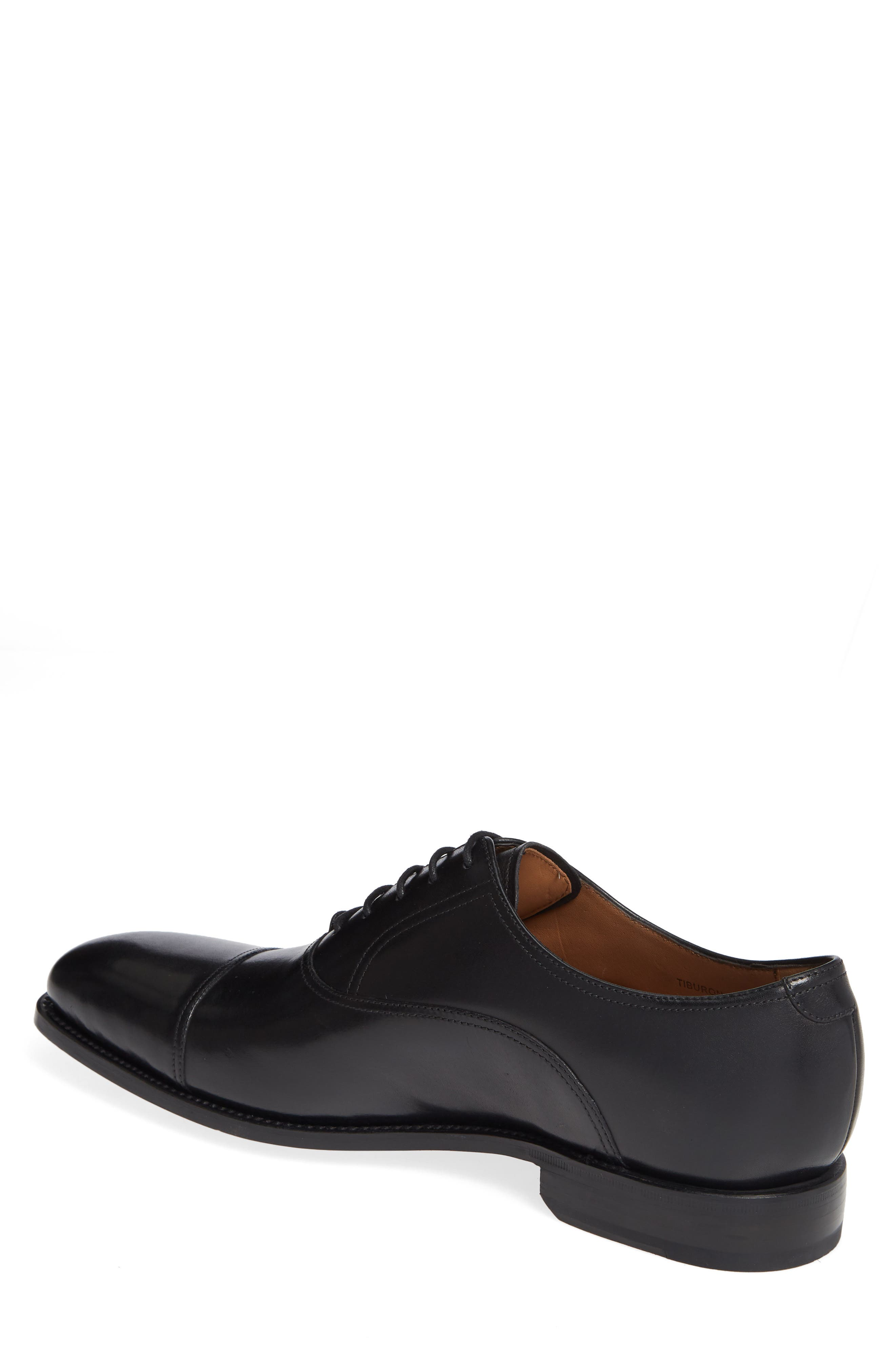Tiburon Cap Toe Oxford,                             Alternate thumbnail 2, color,                             BLACK LEATHER