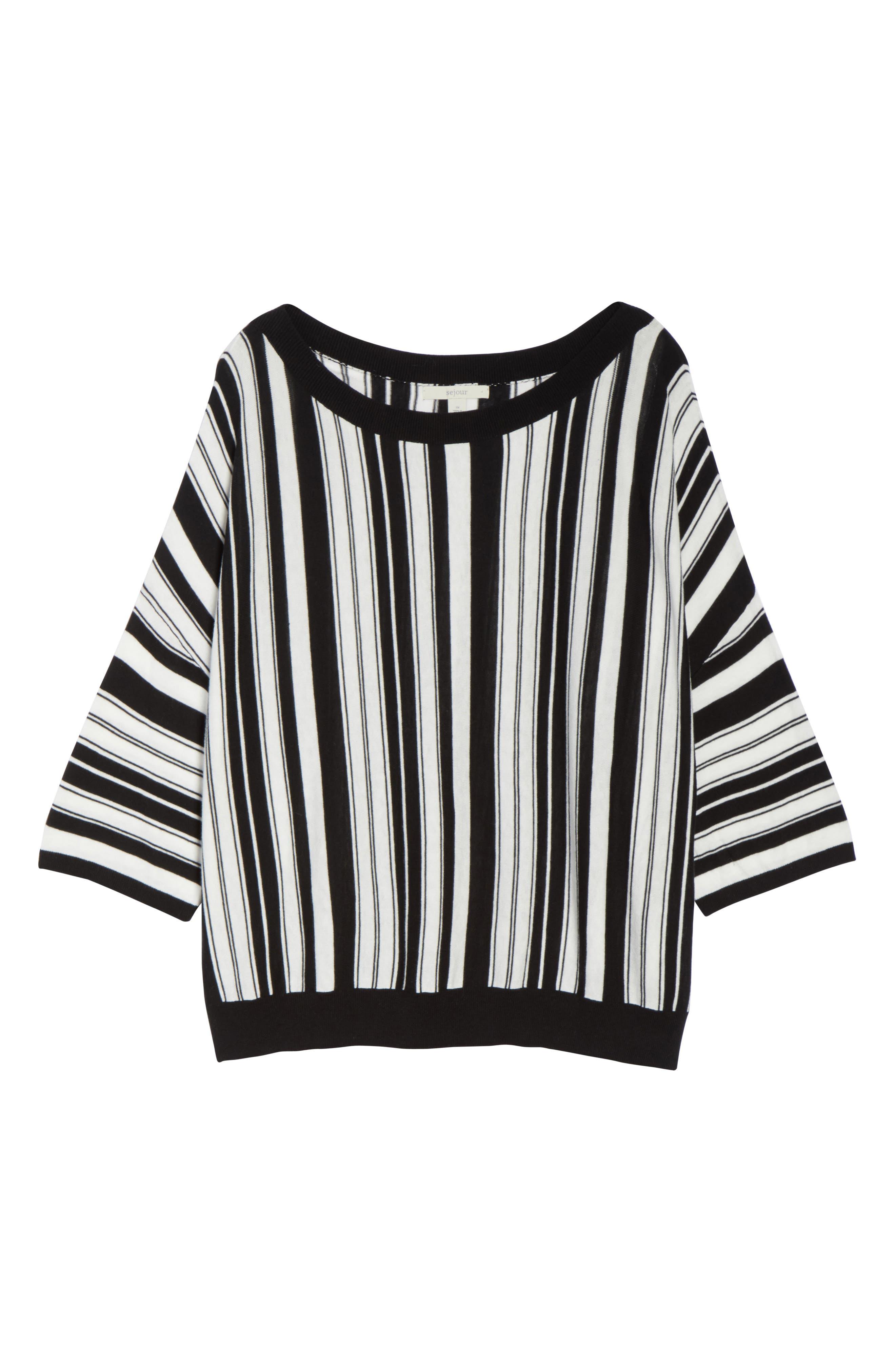Stripe Pullover,                             Alternate thumbnail 6, color,                             BLACK- WHITE FIERCE STRIPE