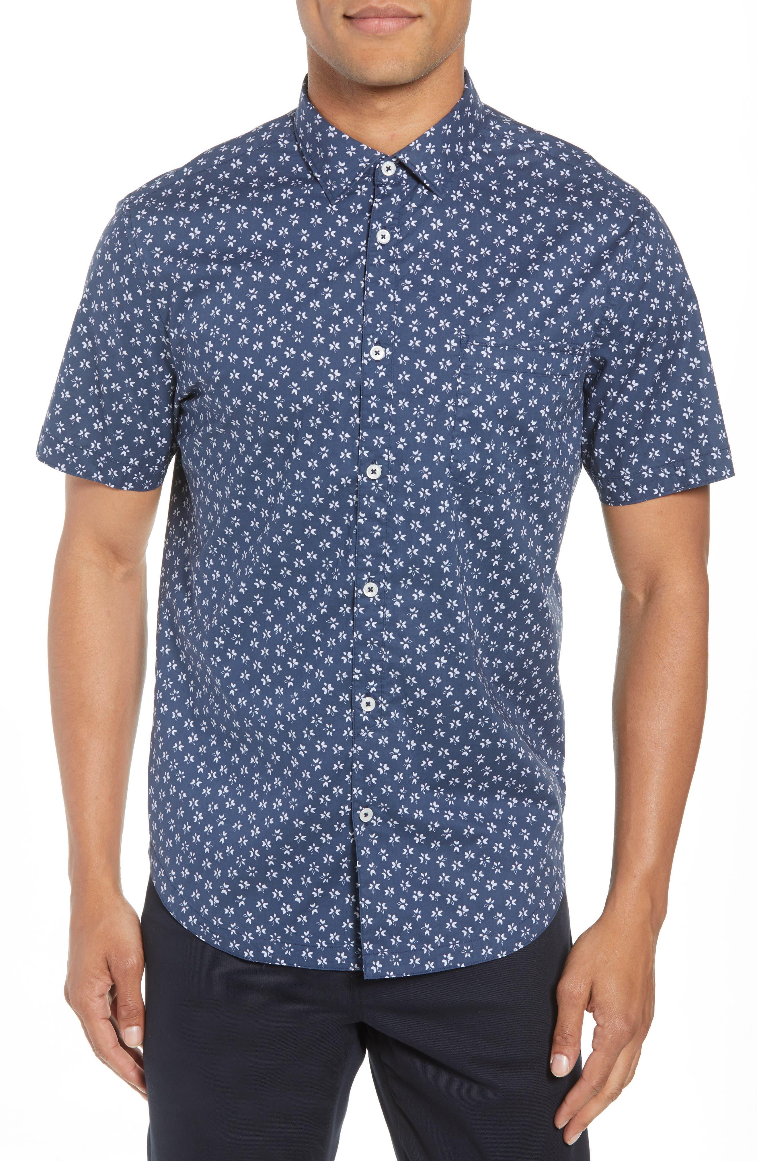 Slim Fit Print Sport Shirt,                         Main,                         color, INDIGO