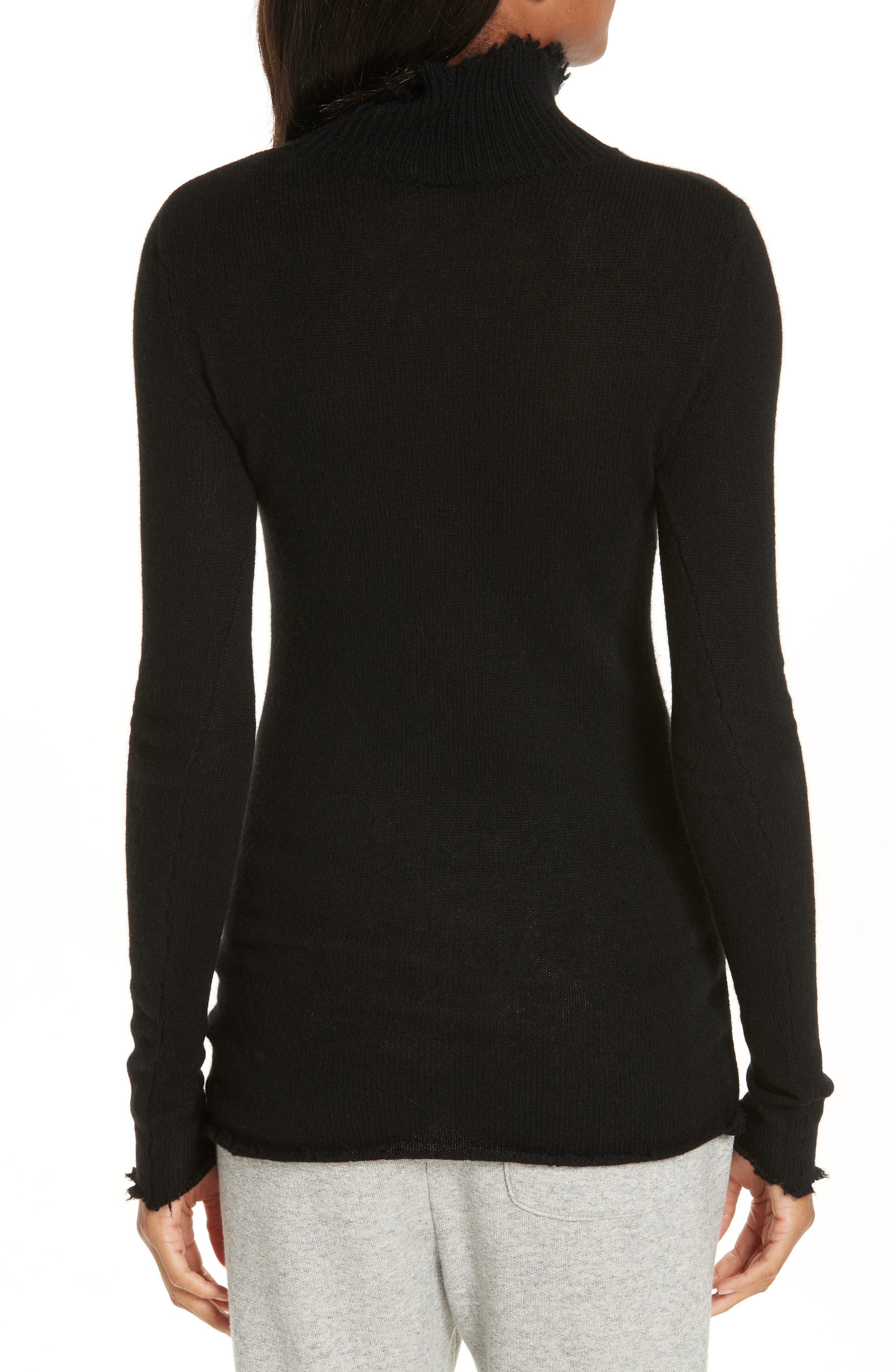 R13,                             Distressed Cashmere Turtleneck Sweater,                             Alternate thumbnail 2, color,                             001