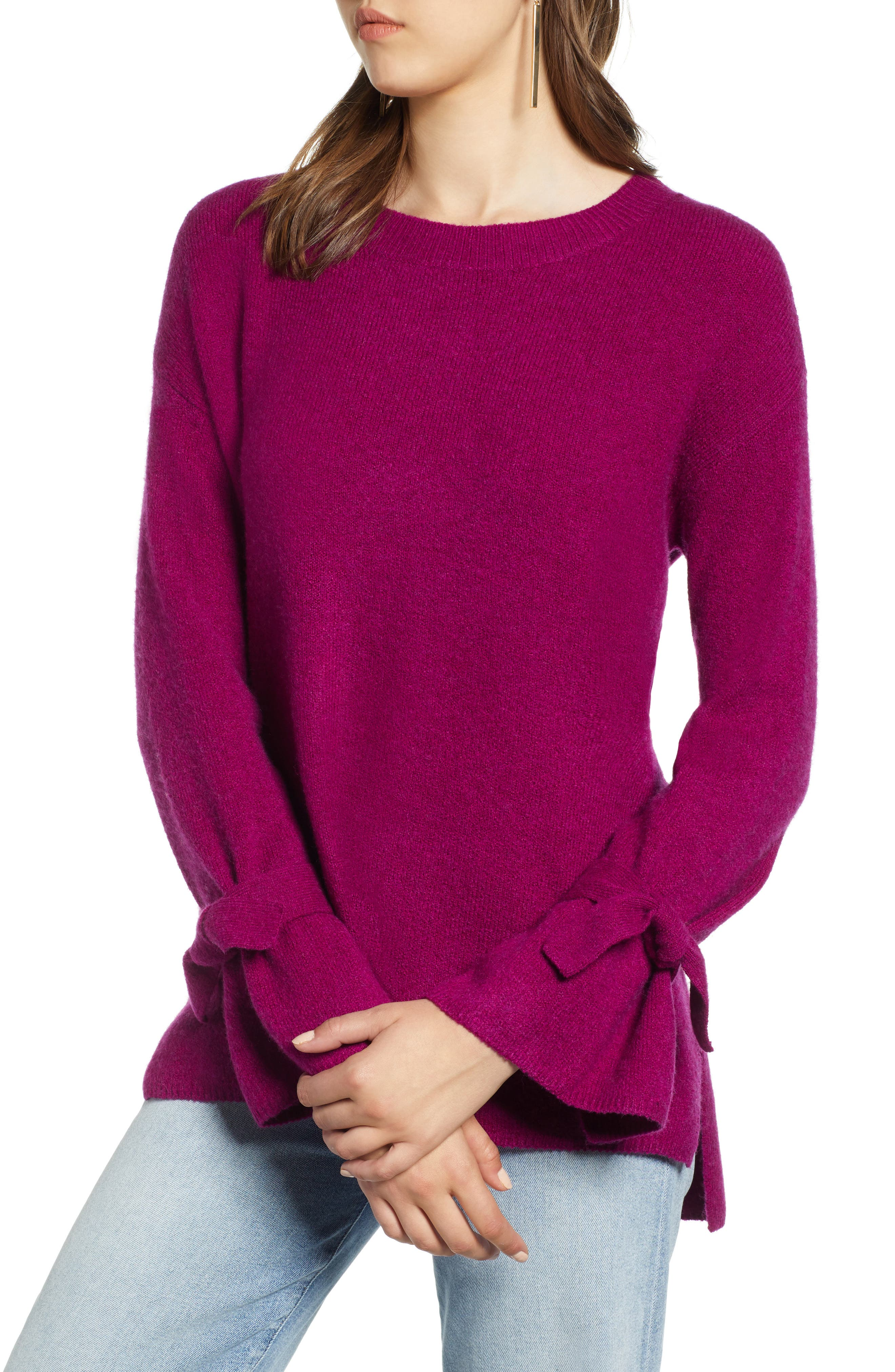 Halogen Tie Sleeve Wool Blend Sweater, Pink