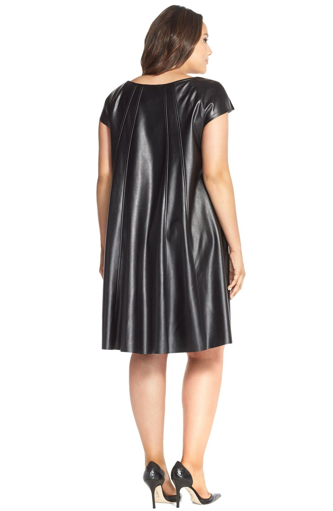 Faux Leather Trapeze Dress,                             Alternate thumbnail 2, color,