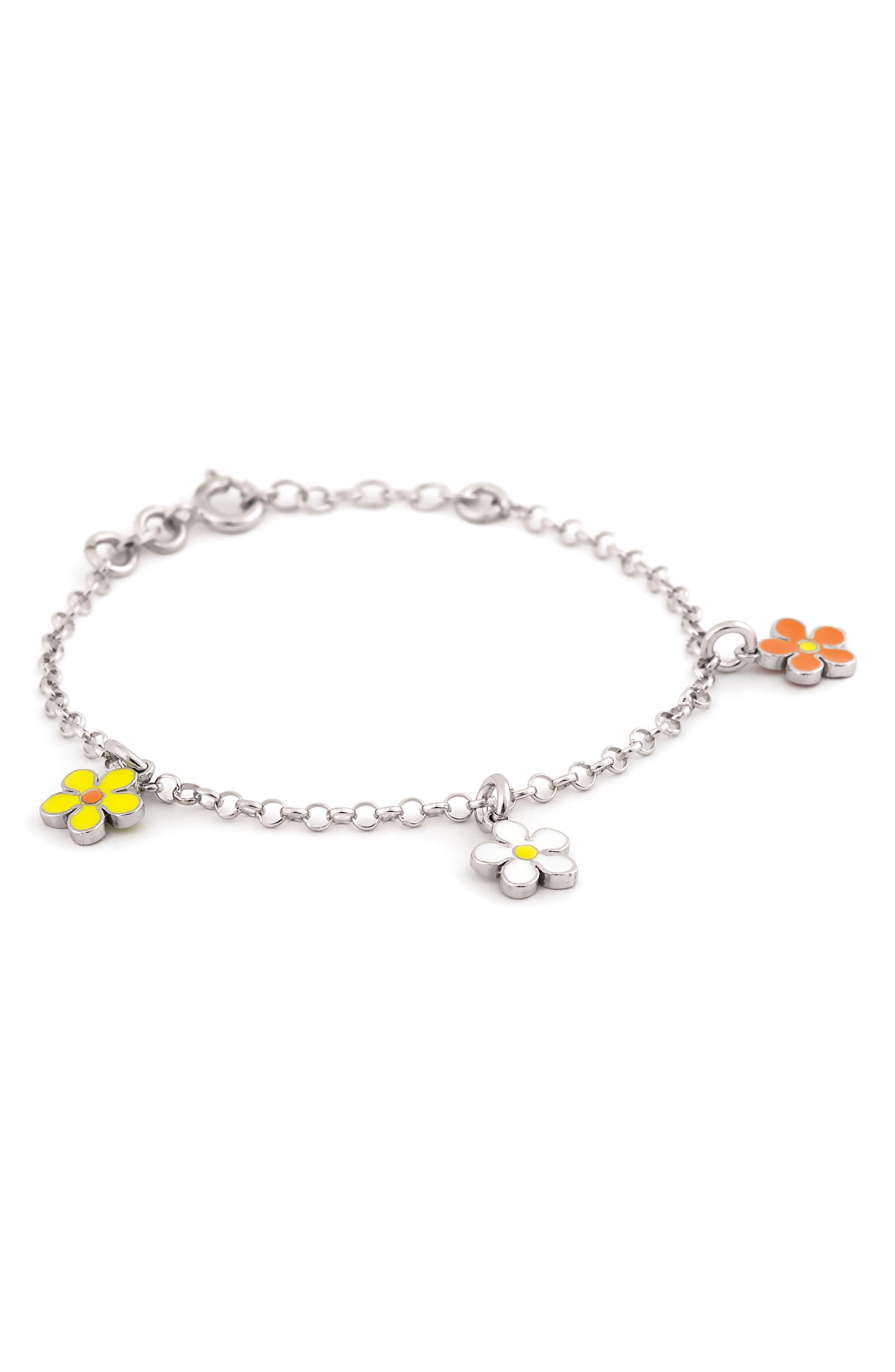Flower Charm Bracelet,                             Main thumbnail 1, color,                             SILVER