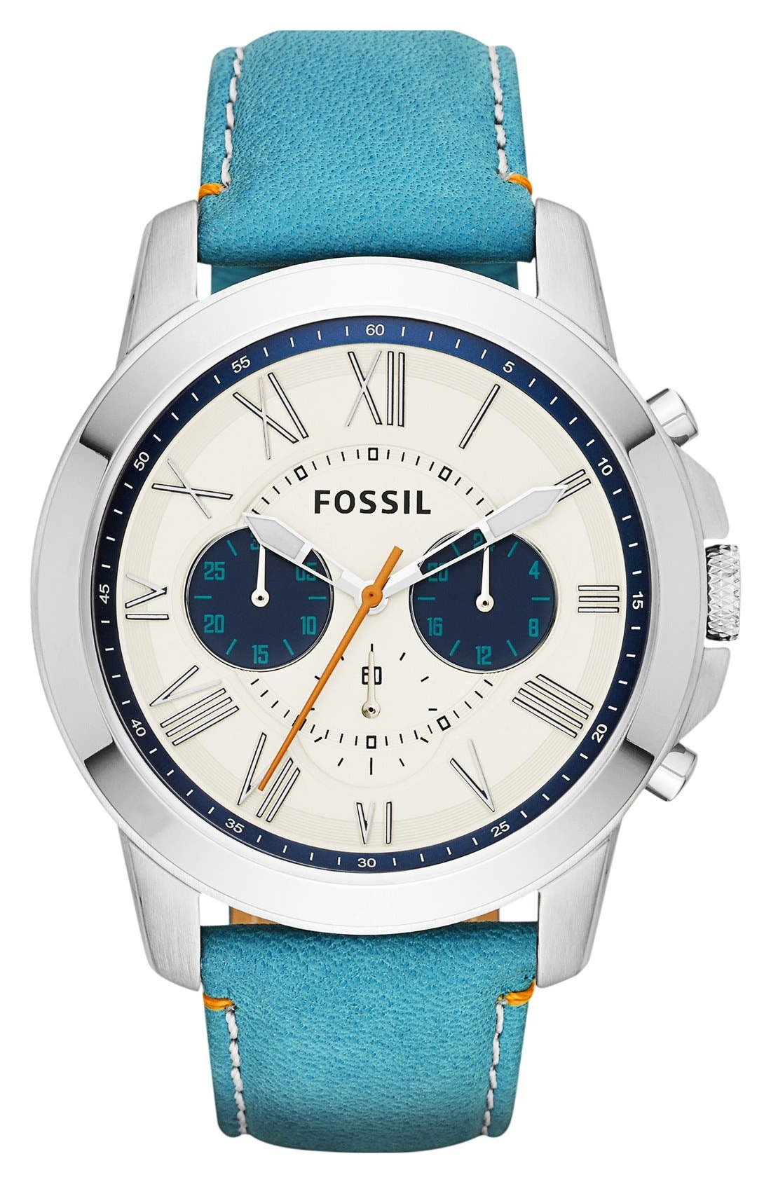 'Grant' Round Chronograph Leather Strap Watch, 44mm,                             Main thumbnail 29, color,