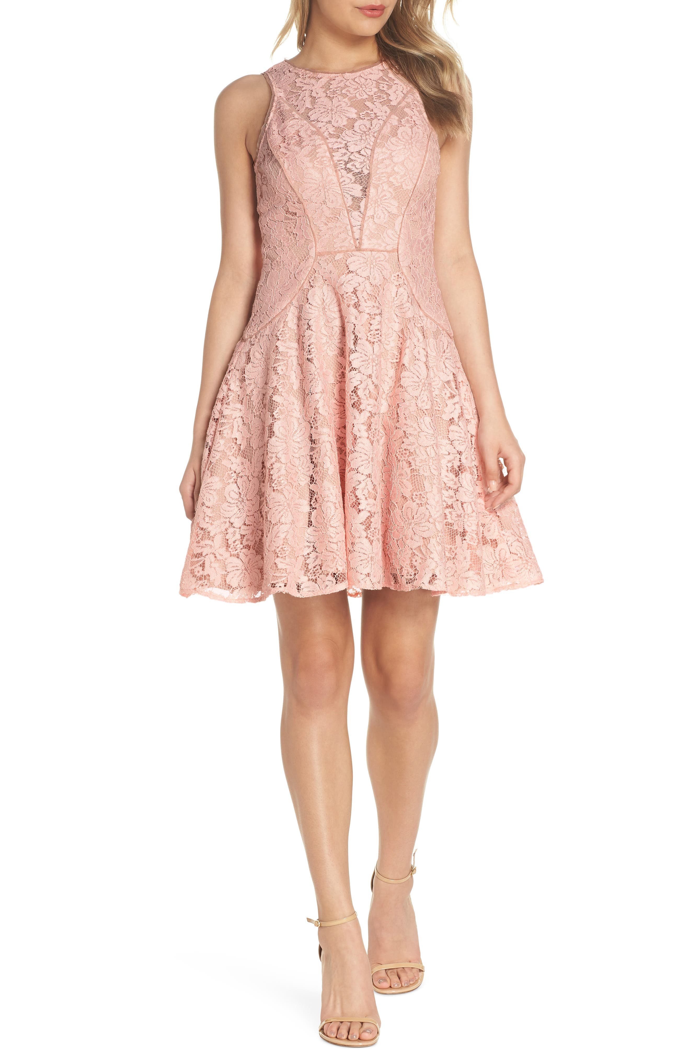 Lace Fit & Flare Dress,                             Main thumbnail 1, color,                             682