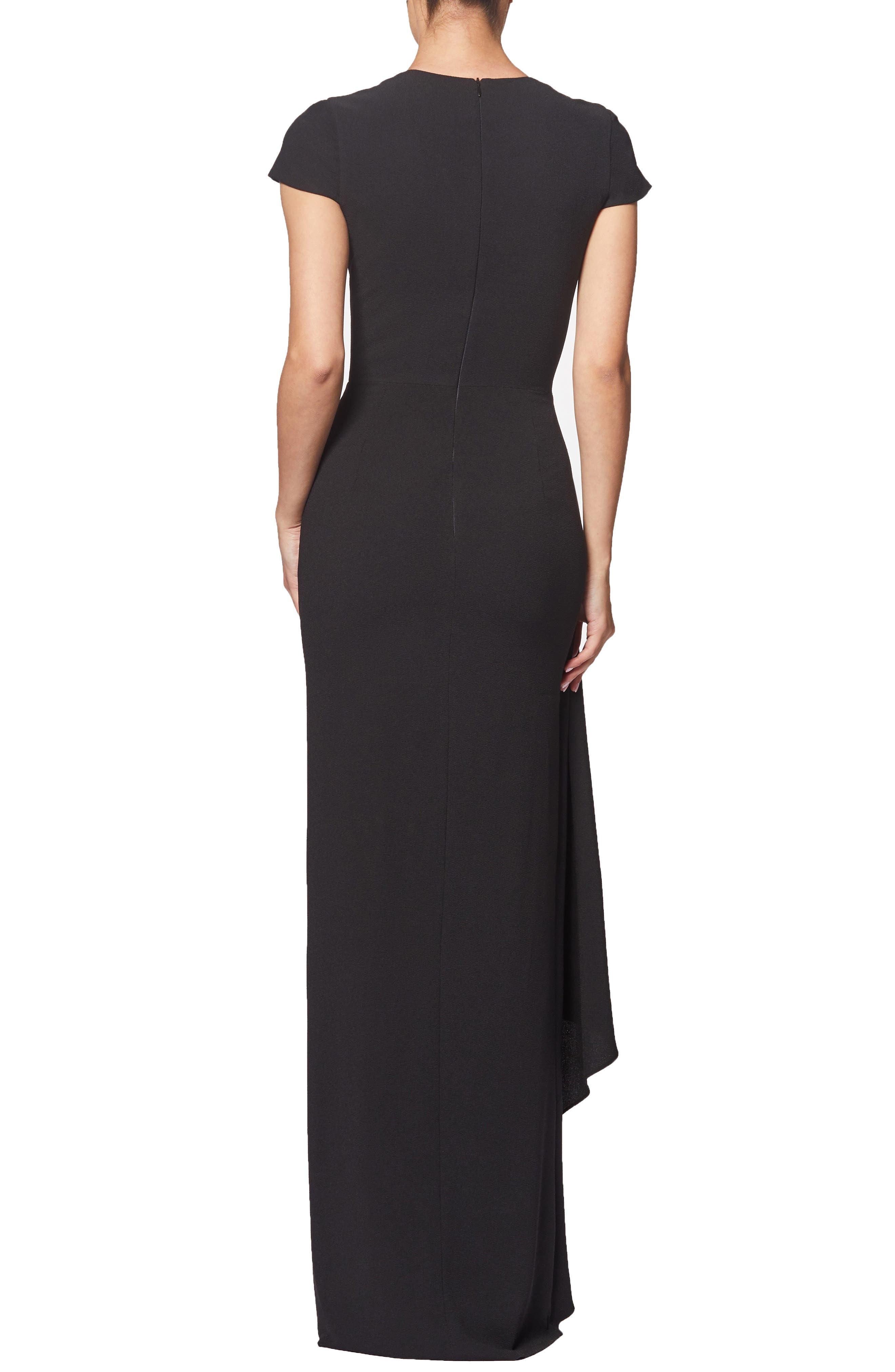 Alma Cap Sleeve Waterfall Crepe Gown,                             Alternate thumbnail 2, color,                             BLACK