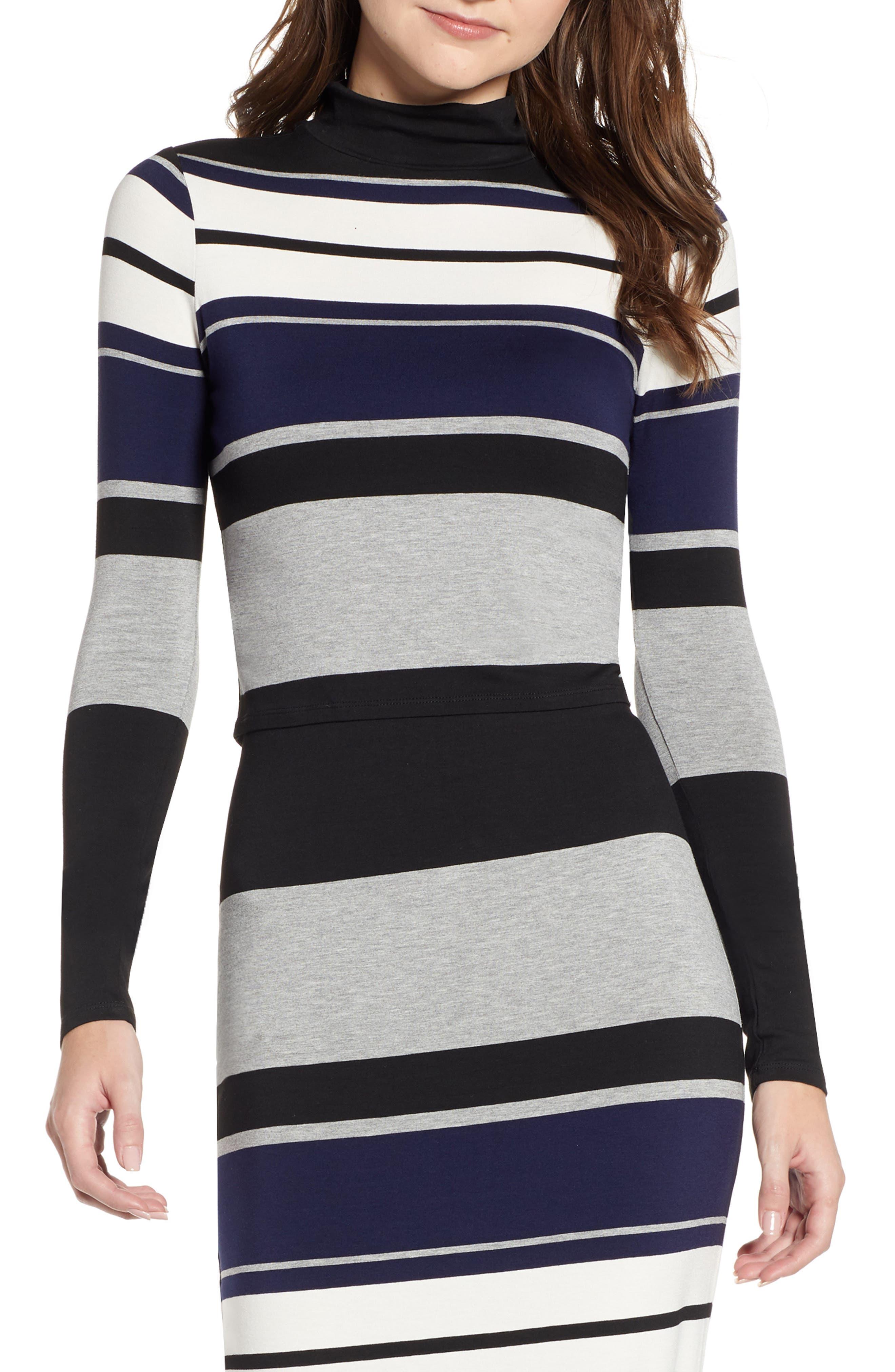 Stripe Mock Neck Tee,                         Main,                         color, BLACK/ WHITE/ GREY