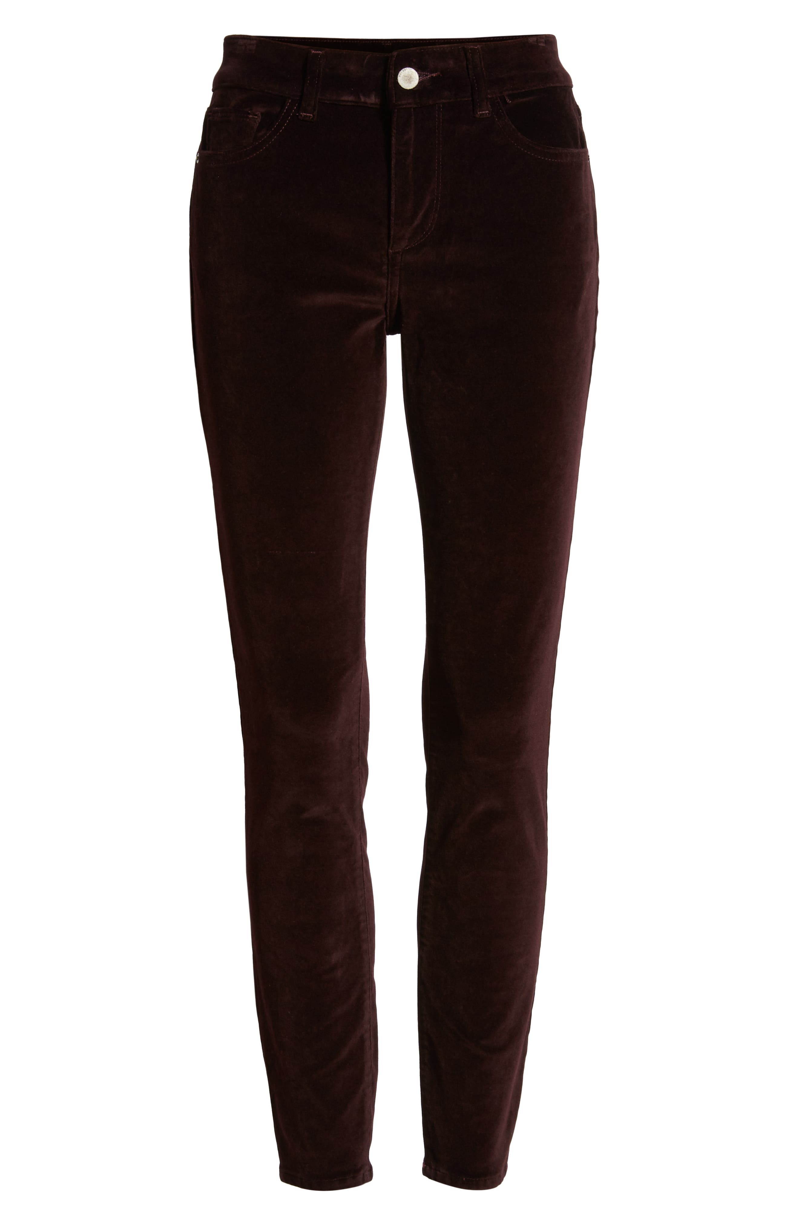 Margaux Instasculpt Ankle Skinny Velvet Pants,                             Alternate thumbnail 7, color,                             DARK PURPLE
