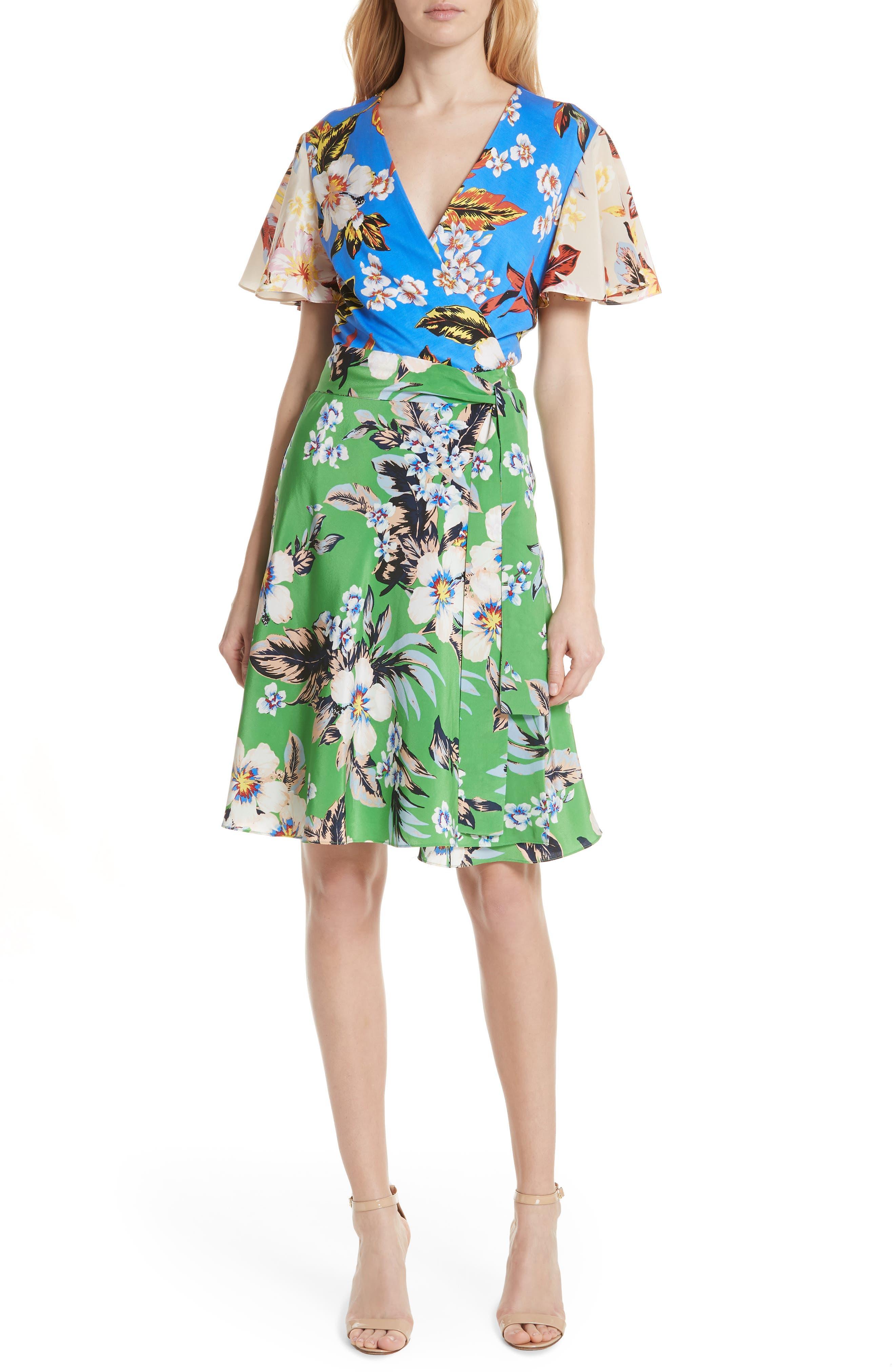 Diane von Furstenberg Flutter Sleeve Silk Wrap Dress,                         Main,                         color, BOLAN PALM MULTI