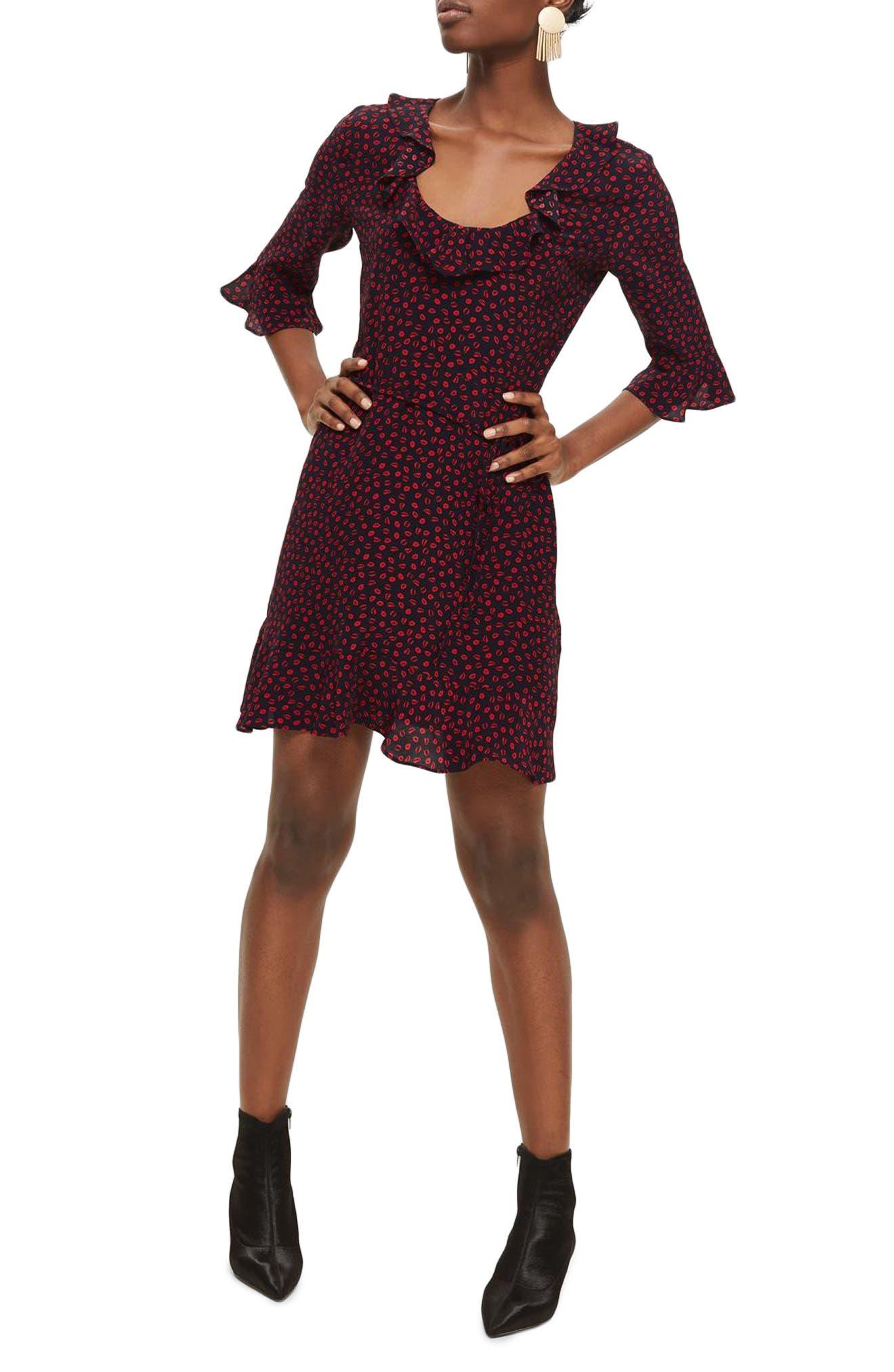 Phoebe Lip Print Ruffle Minidress,                         Main,                         color,