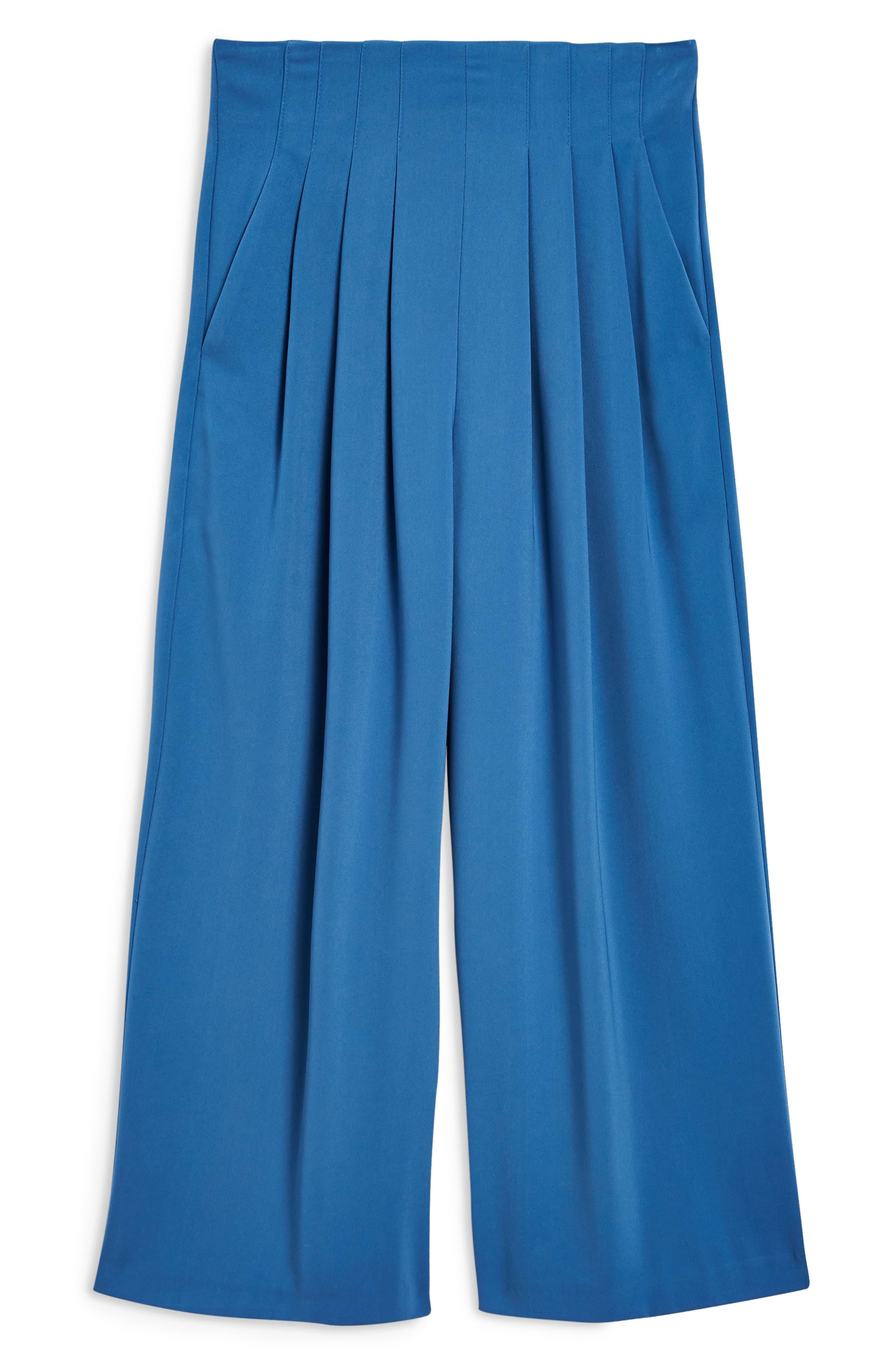 Ivy Crop Wide Leg Trousers,                             Alternate thumbnail 4, color,                             BLUE