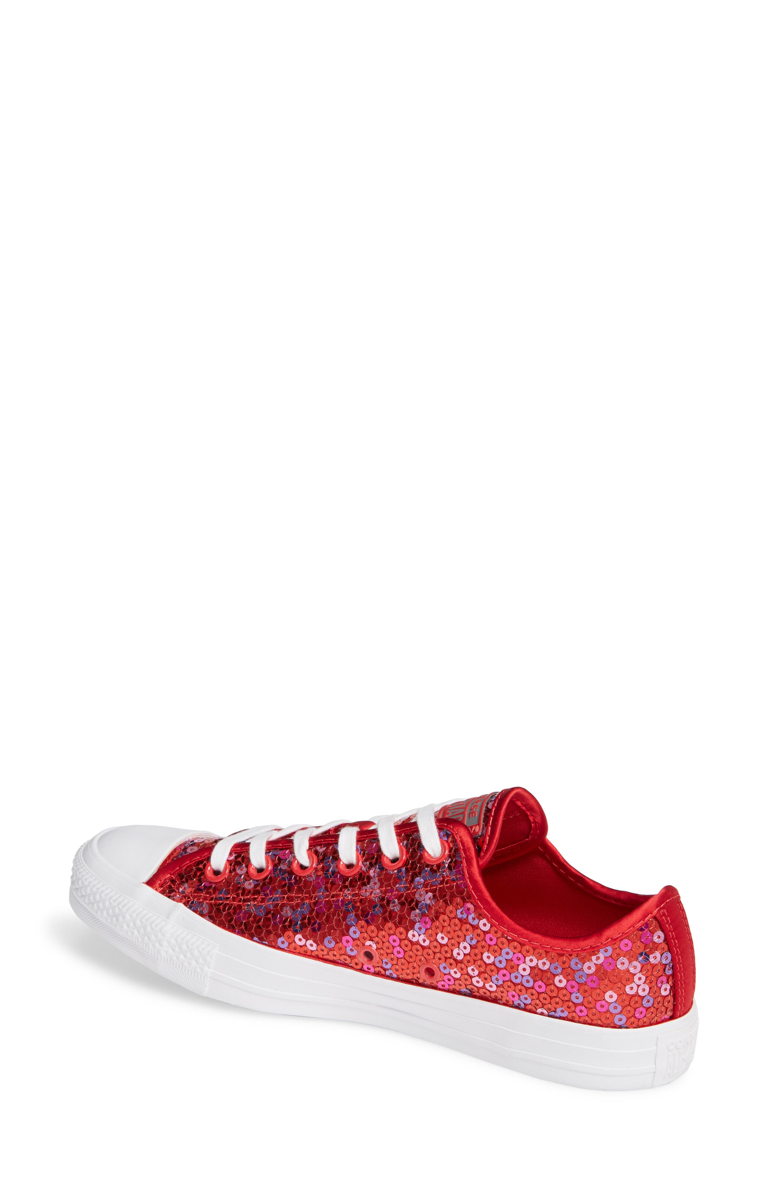 Chuck Taylor<sup>®</sup> All Star<sup>®</sup> Sequin Low Top Sneaker,                             Alternate thumbnail 2, color,                             RED CHERRY SEQUINS