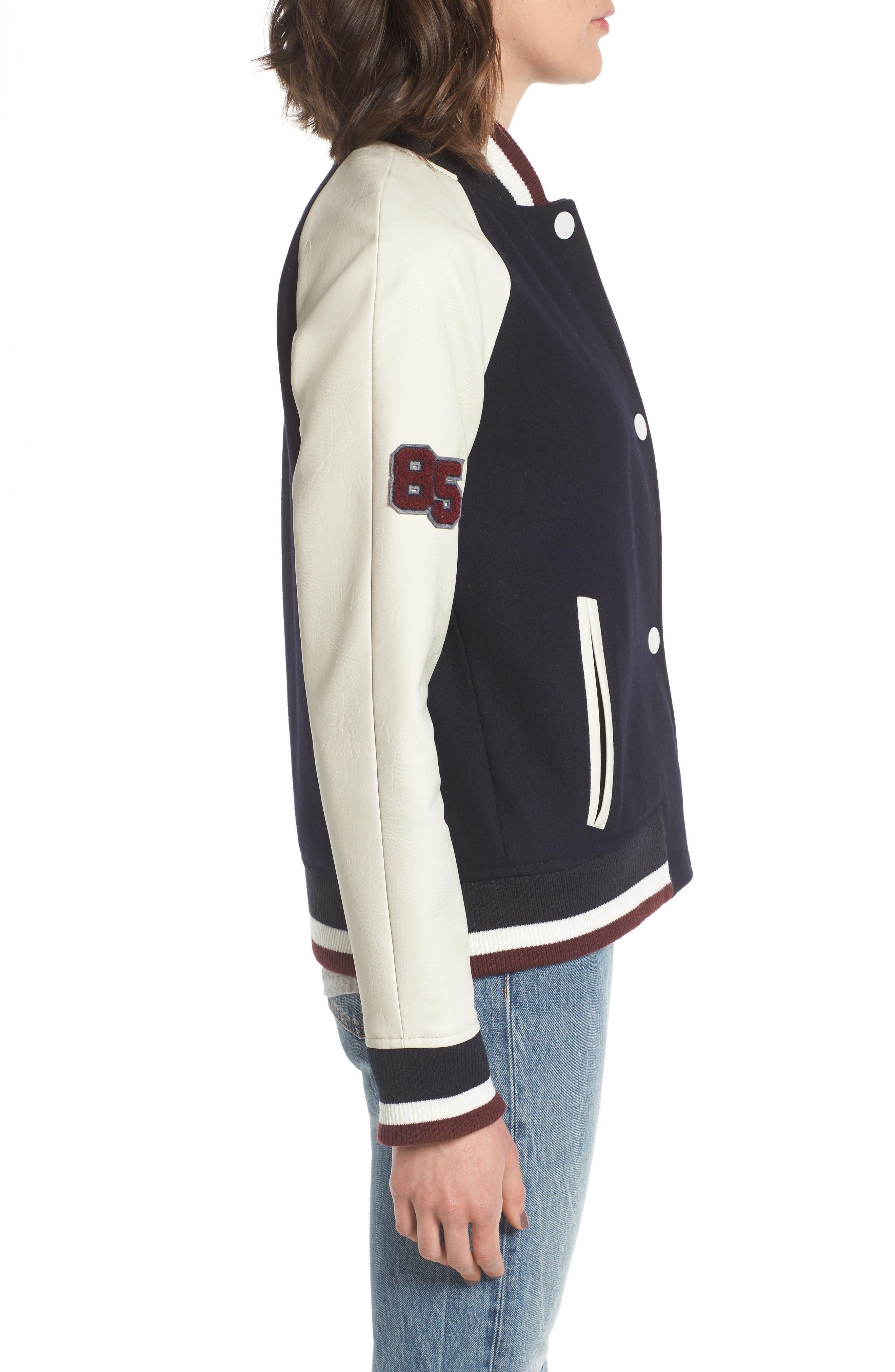 Mixed Media Varsity Jacket,                             Alternate thumbnail 3, color,                             410