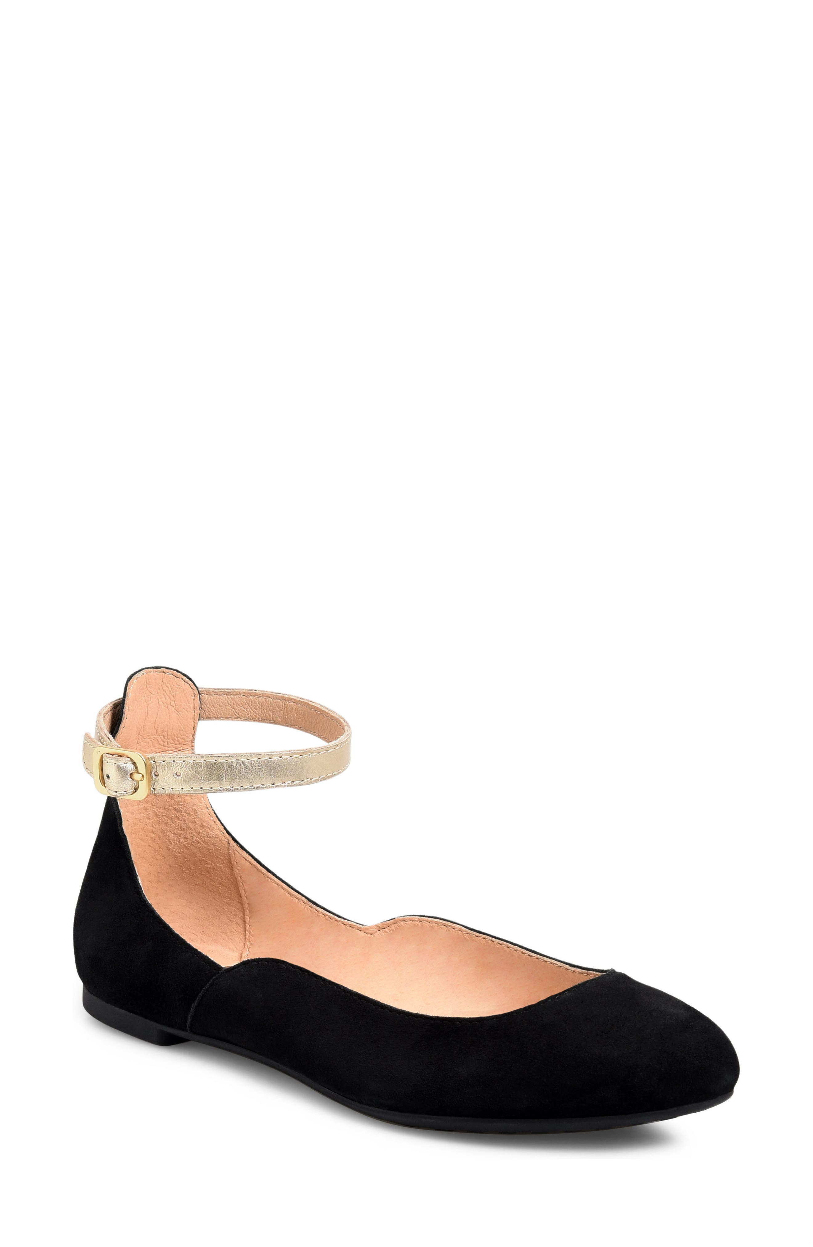 Luchia Ankle Strap Flat,                             Main thumbnail 1, color,                             BLACK/ GOLD LEATHER