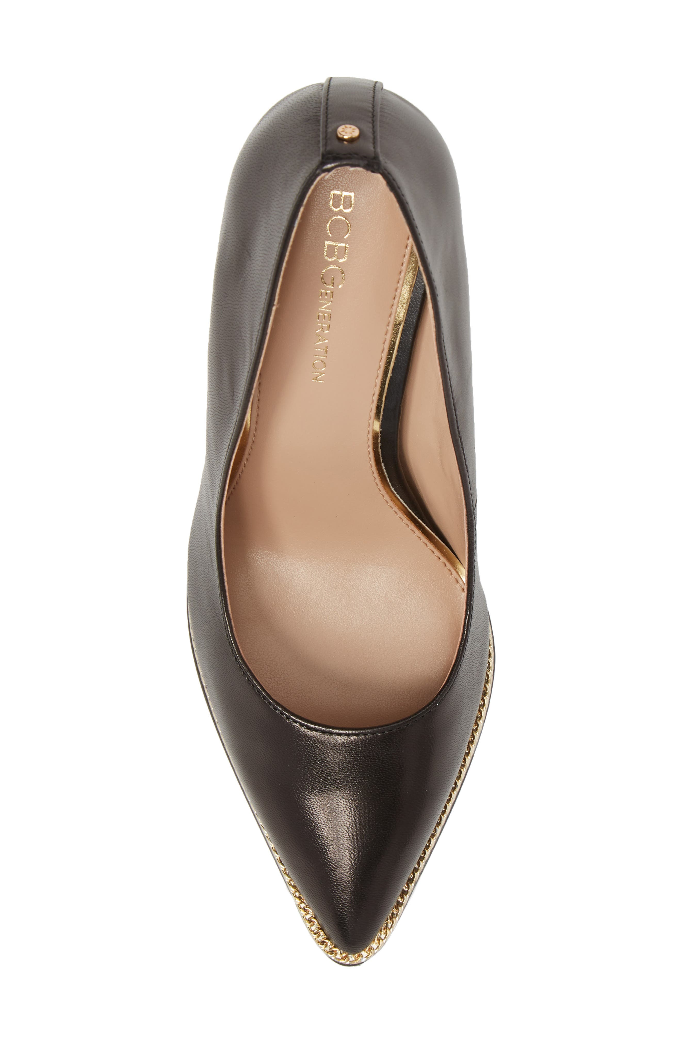 Harleigh Pointy Toe Pump,                             Alternate thumbnail 5, color,                             BLACK LEATHER