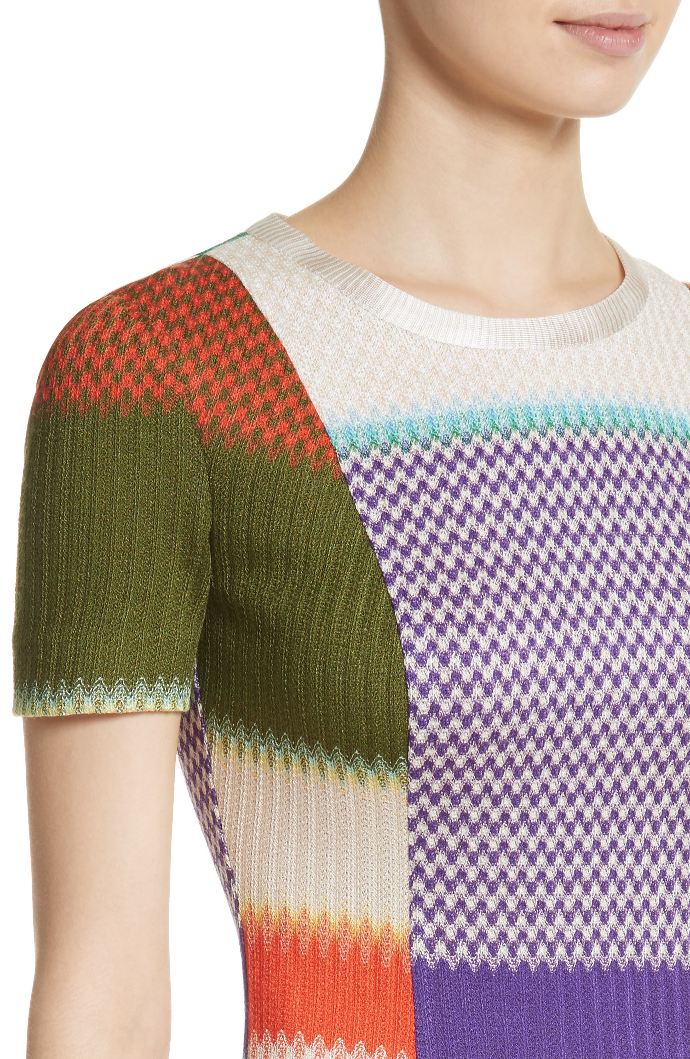 Multi Knit Flare Dress,                             Alternate thumbnail 4, color,                             540