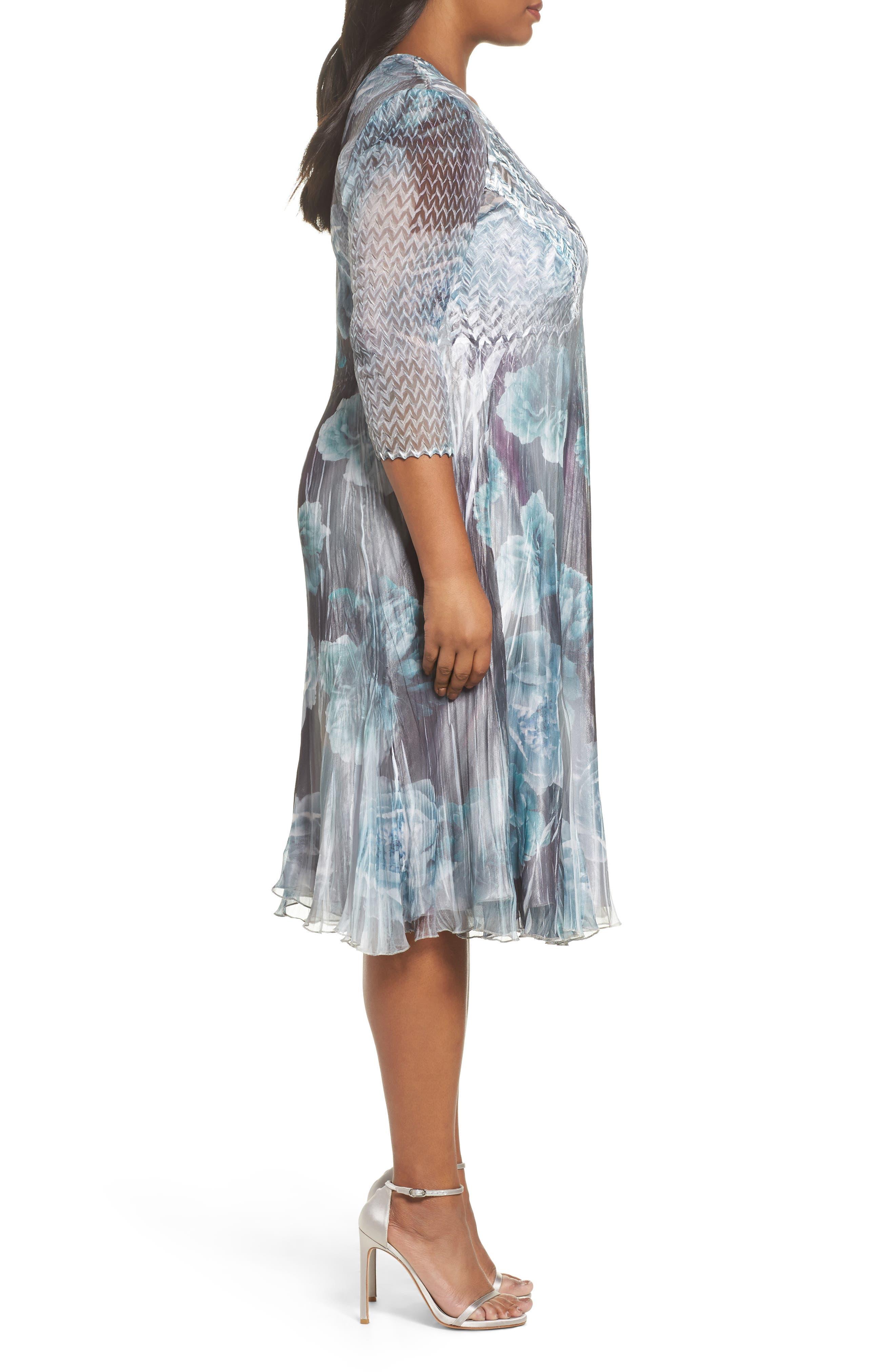 Floral Chiffon Dress,                             Alternate thumbnail 3, color,                             JADE MIST