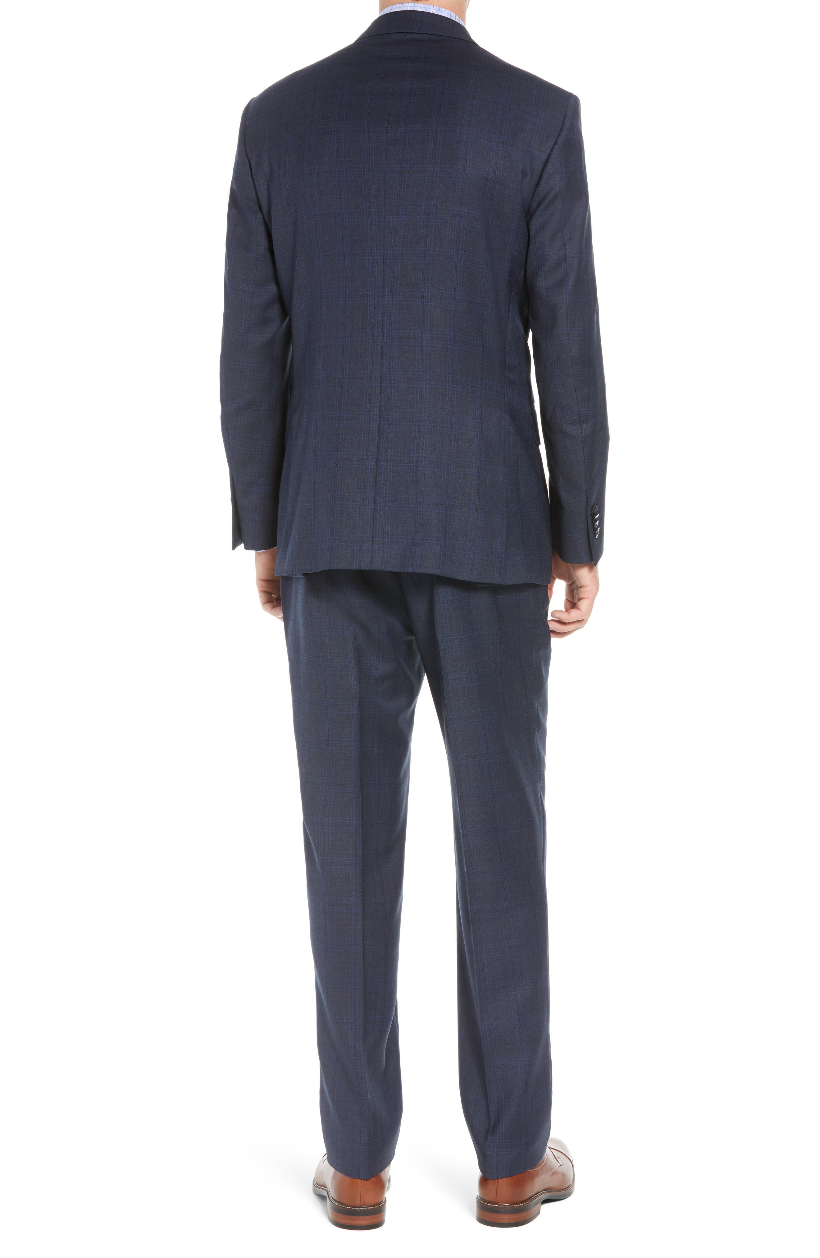 Flynn Classic Fit Plaid Wool Suit,                             Alternate thumbnail 2, color,                             NAVY