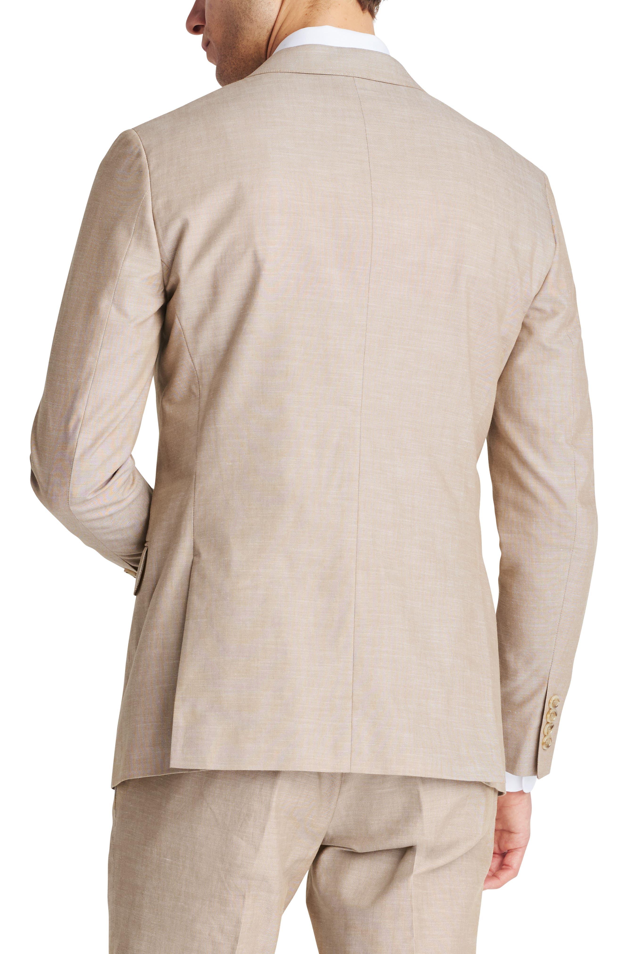 Trim Fit Chambray Cotton Blazer,                             Alternate thumbnail 4, color,