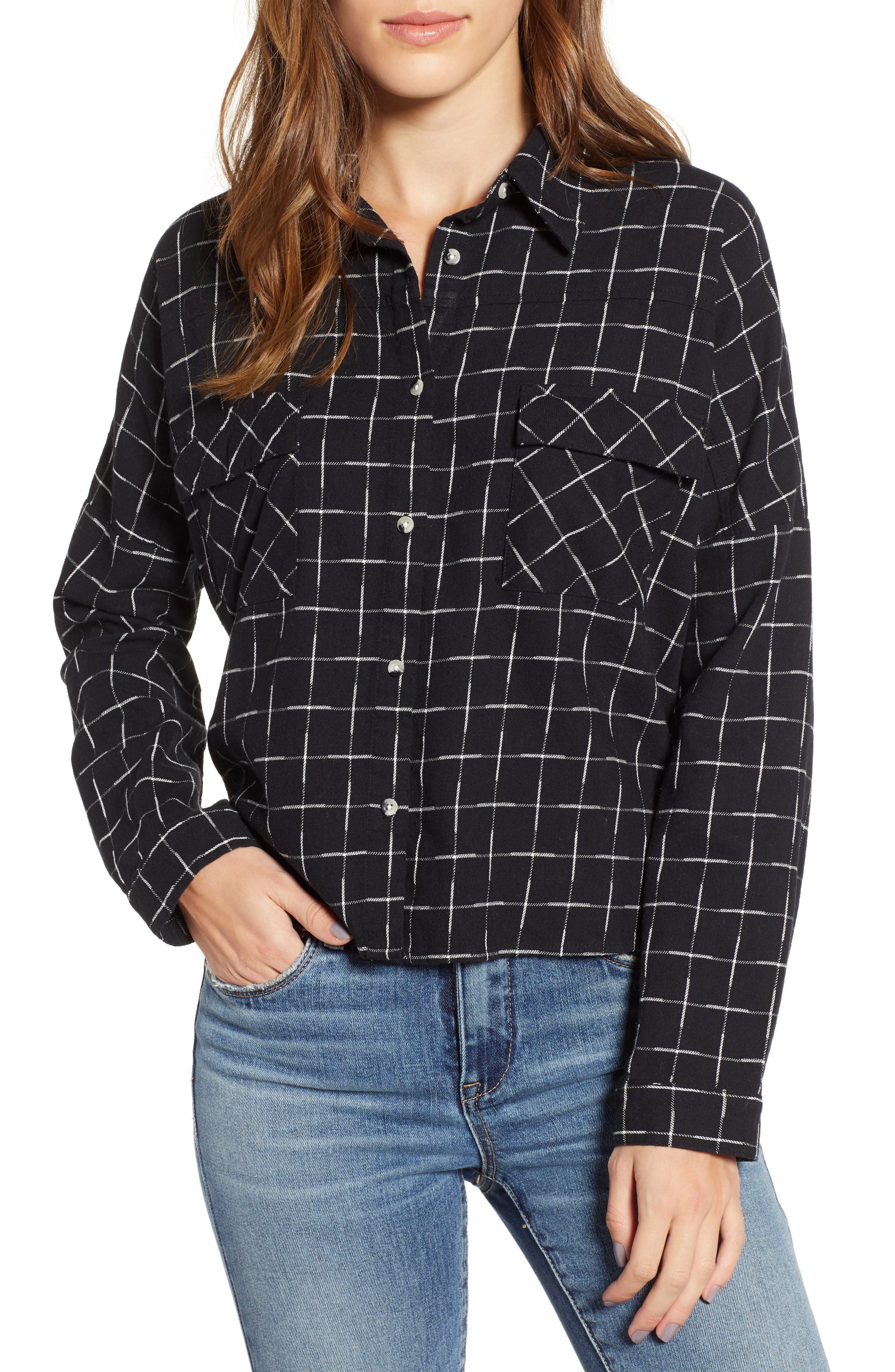 LOVE, FIRE Check Flannel Shirt in White/ Black Grid