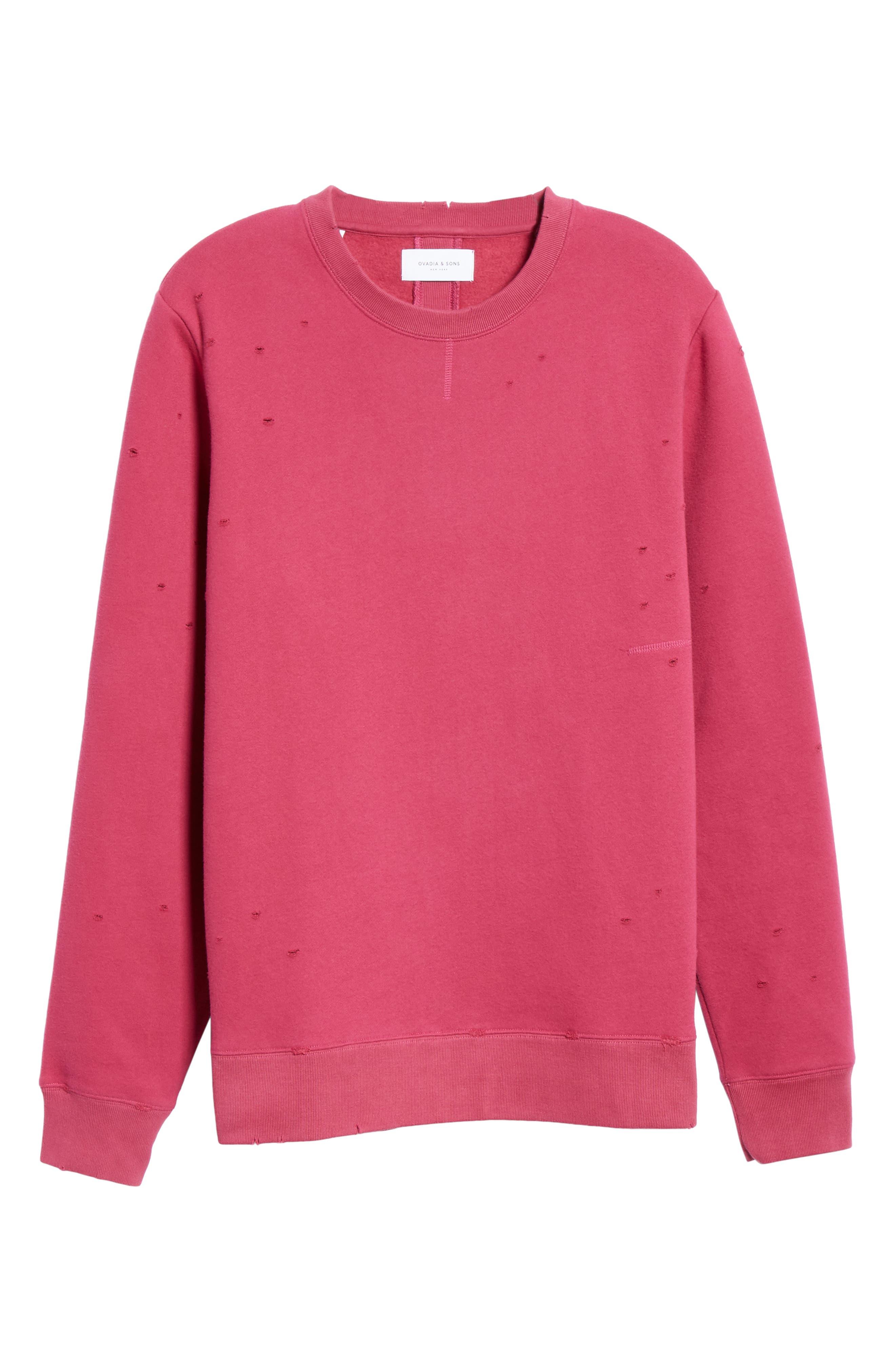 Distressed Crewneck Sweatshirt,                             Alternate thumbnail 6, color,                             RASBERRY